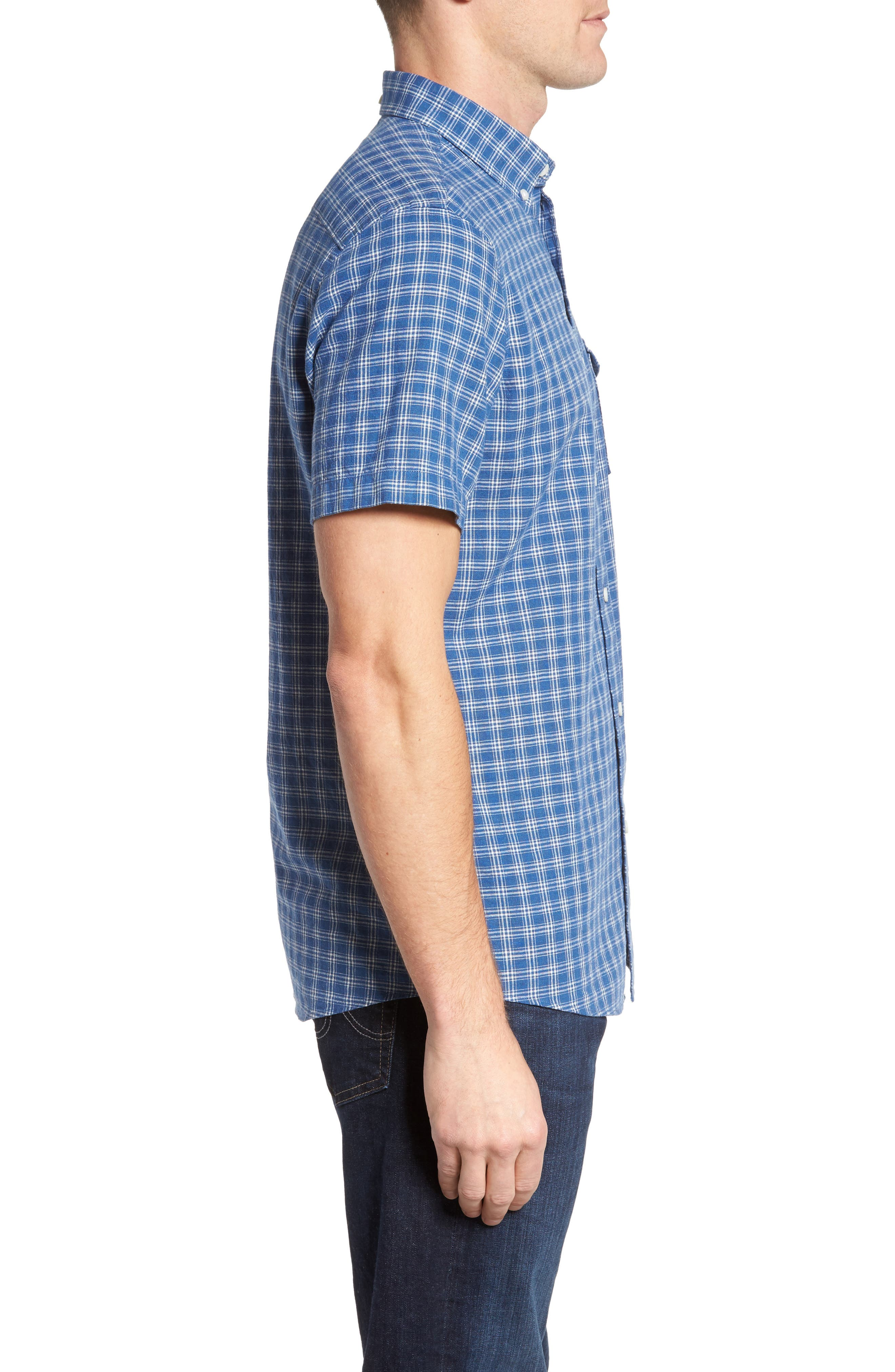 Ivy Trim Fit Check Sport Shirt,                             Alternate thumbnail 4, color,                             Blue Indigo White Plaid