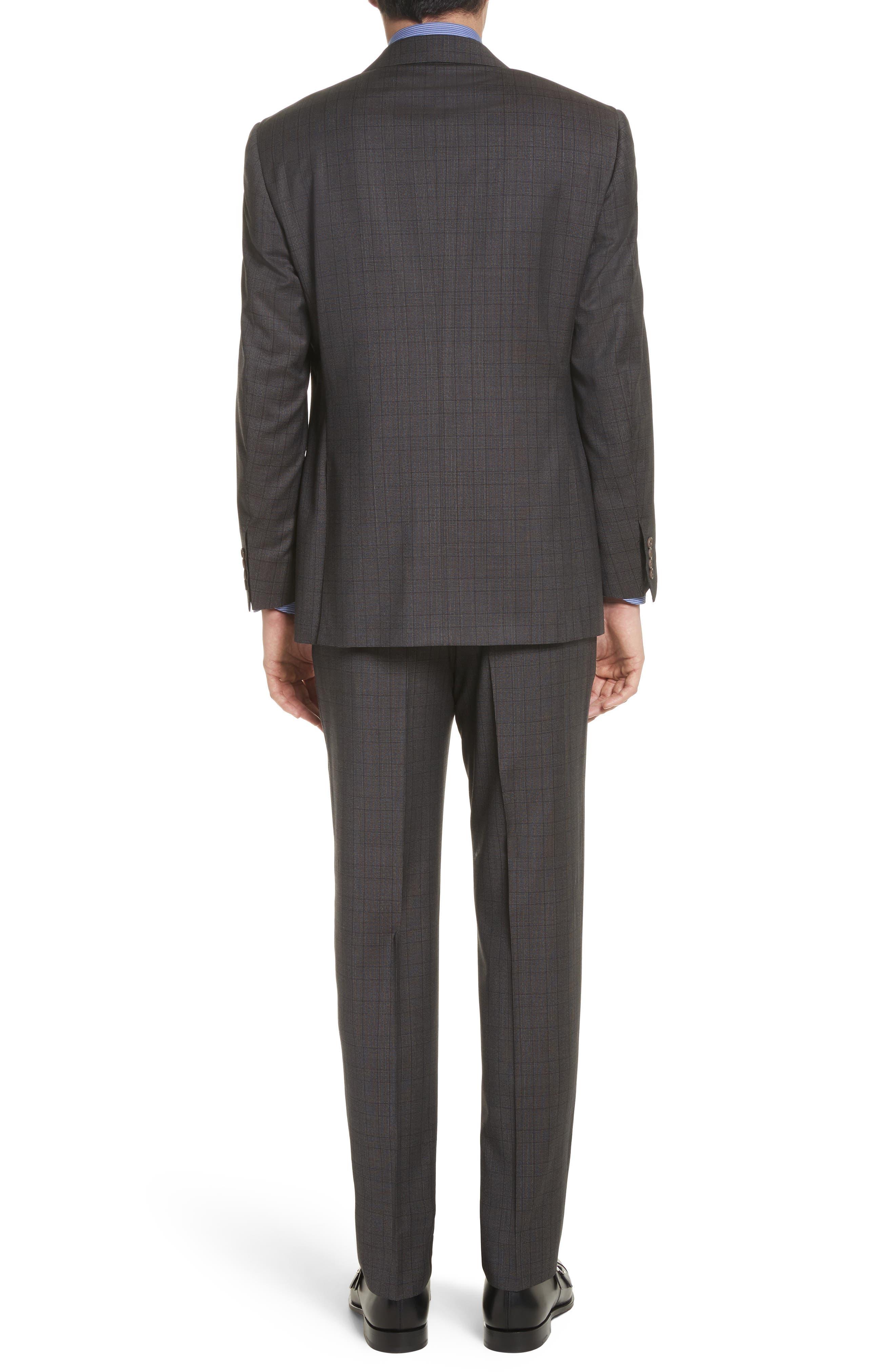Classic Fit Plaid Wool Suit,                             Alternate thumbnail 2, color,                             Brown