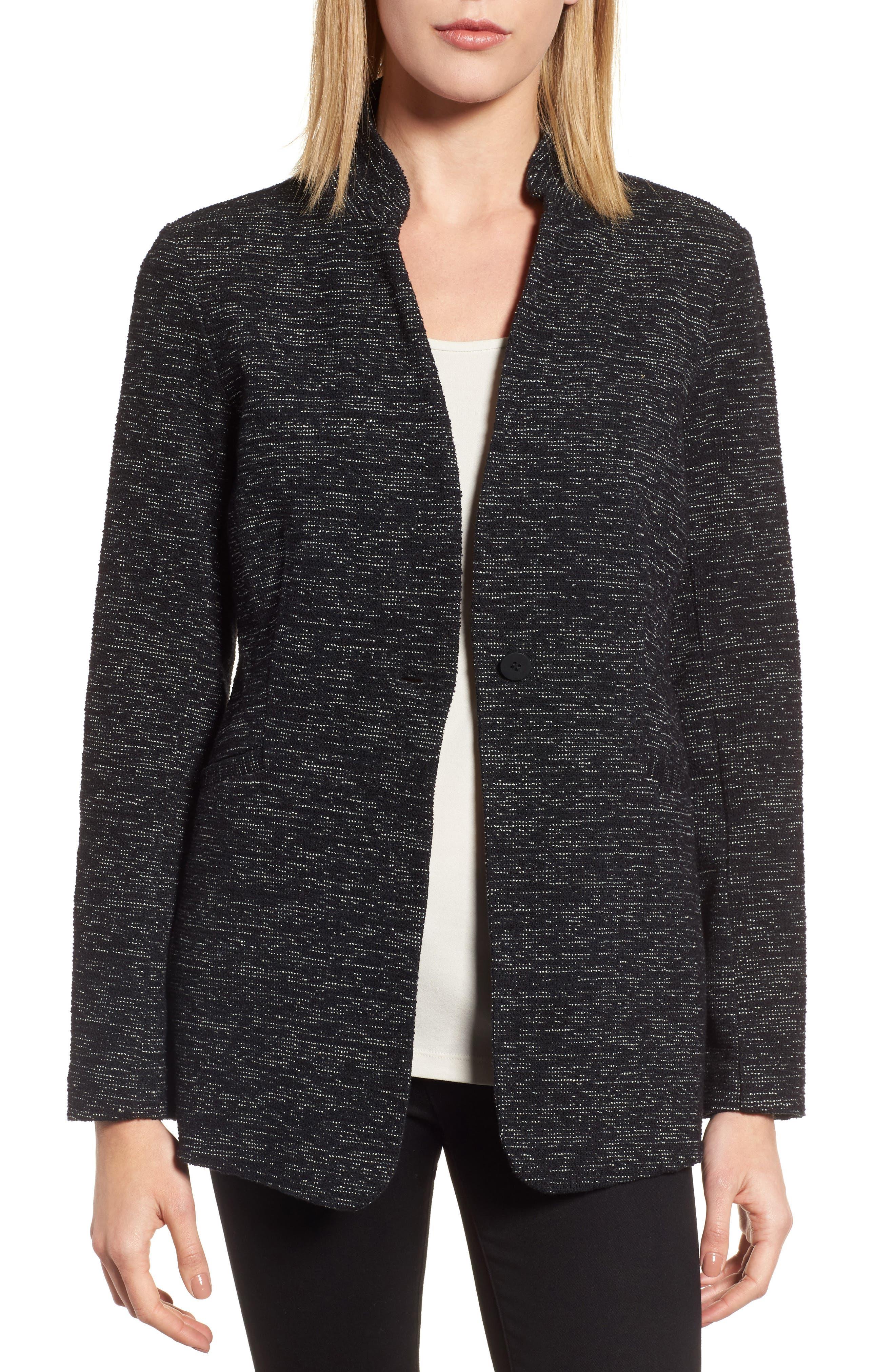 Organic Cotton Blend Tweed Jacket,                         Main,                         color, Black