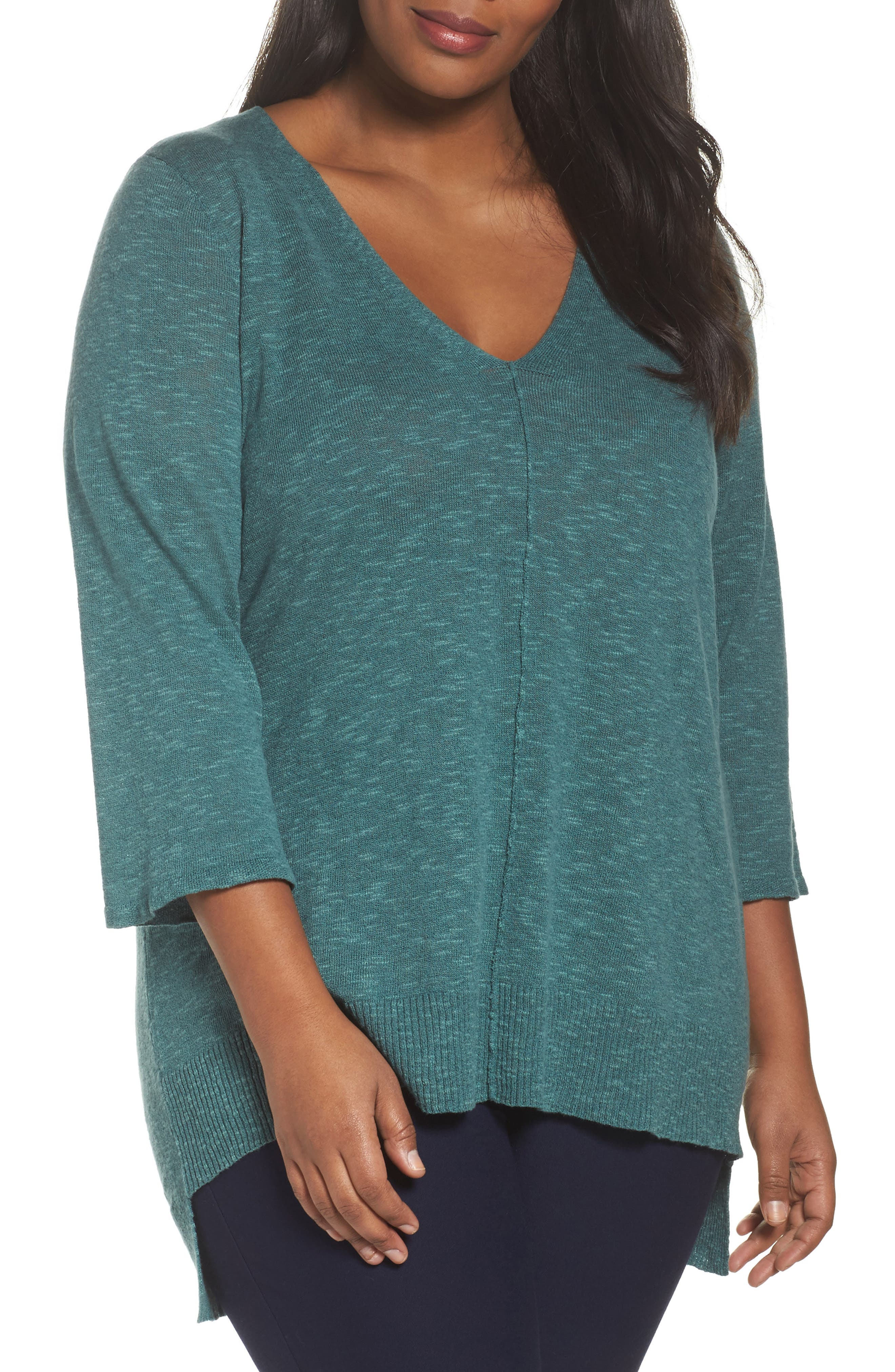Alternate Image 1 Selected - Eileen Fisher Organic Linen & Cotton High/Low Sweater (Plus Size)