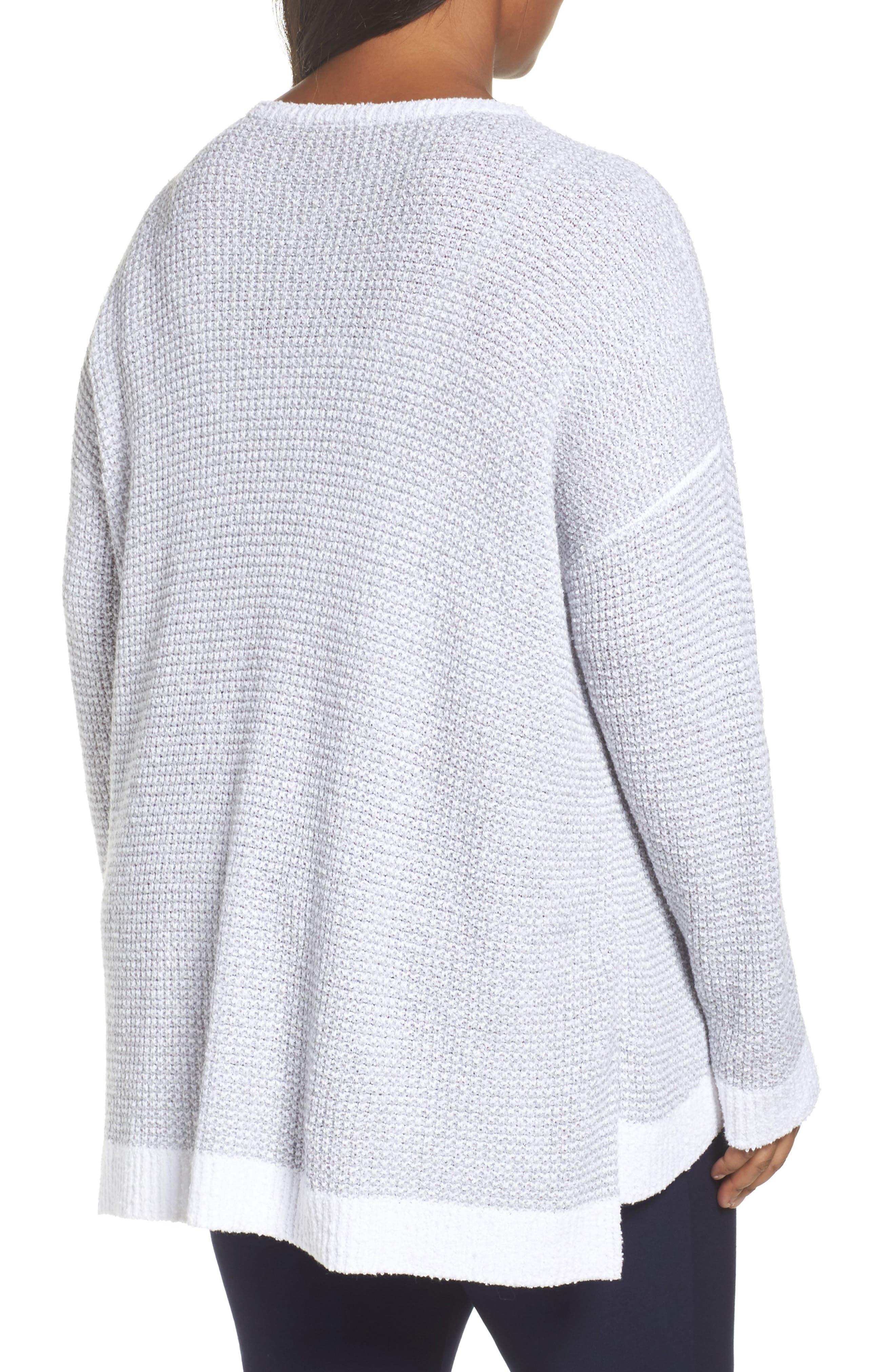 Waffled Organic Cotton Sweater,                             Alternate thumbnail 2, color,                             Grey
