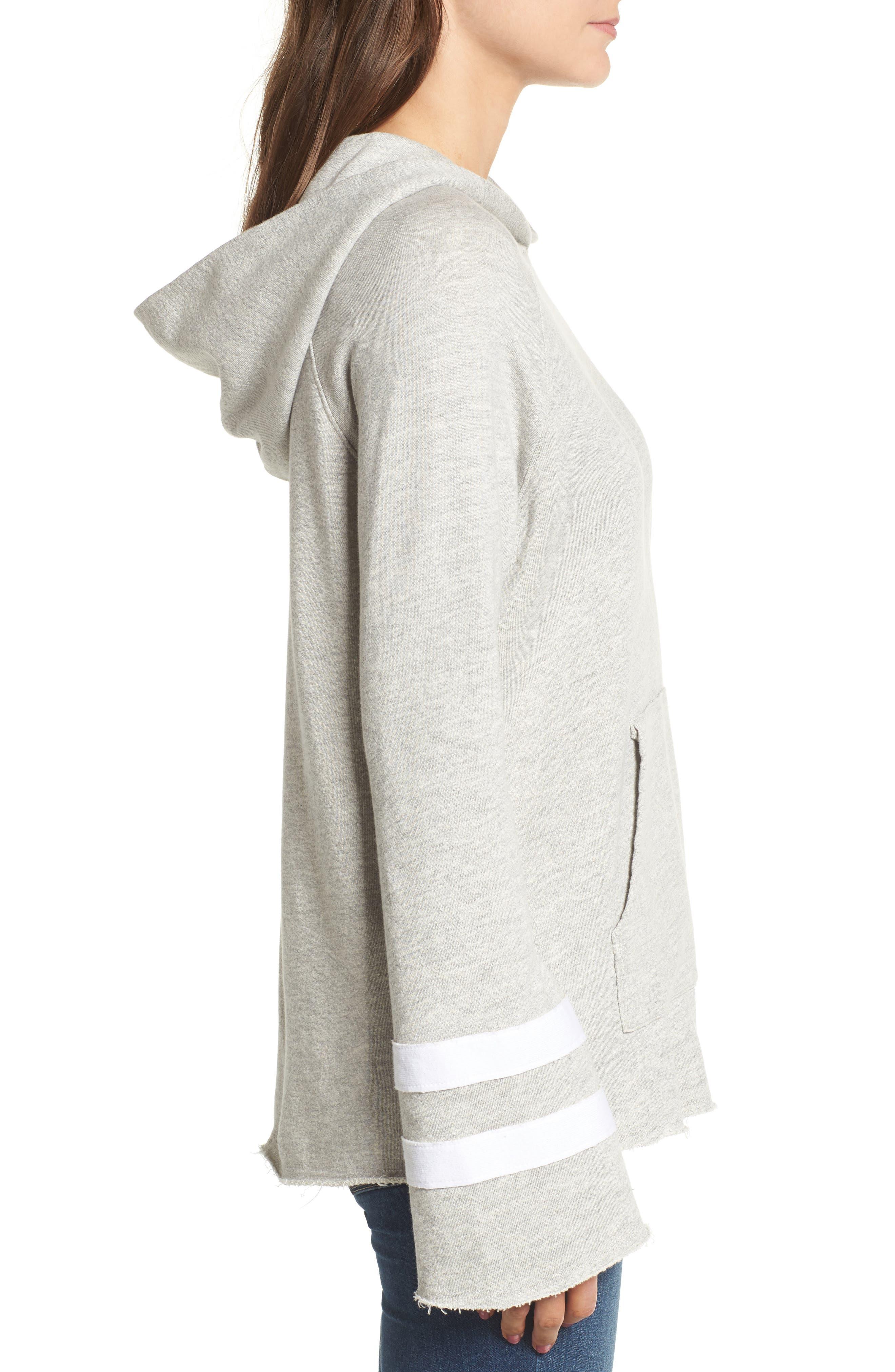 Stripe Bell Sleeve Hoodie,                             Alternate thumbnail 3, color,                             Heather Grey