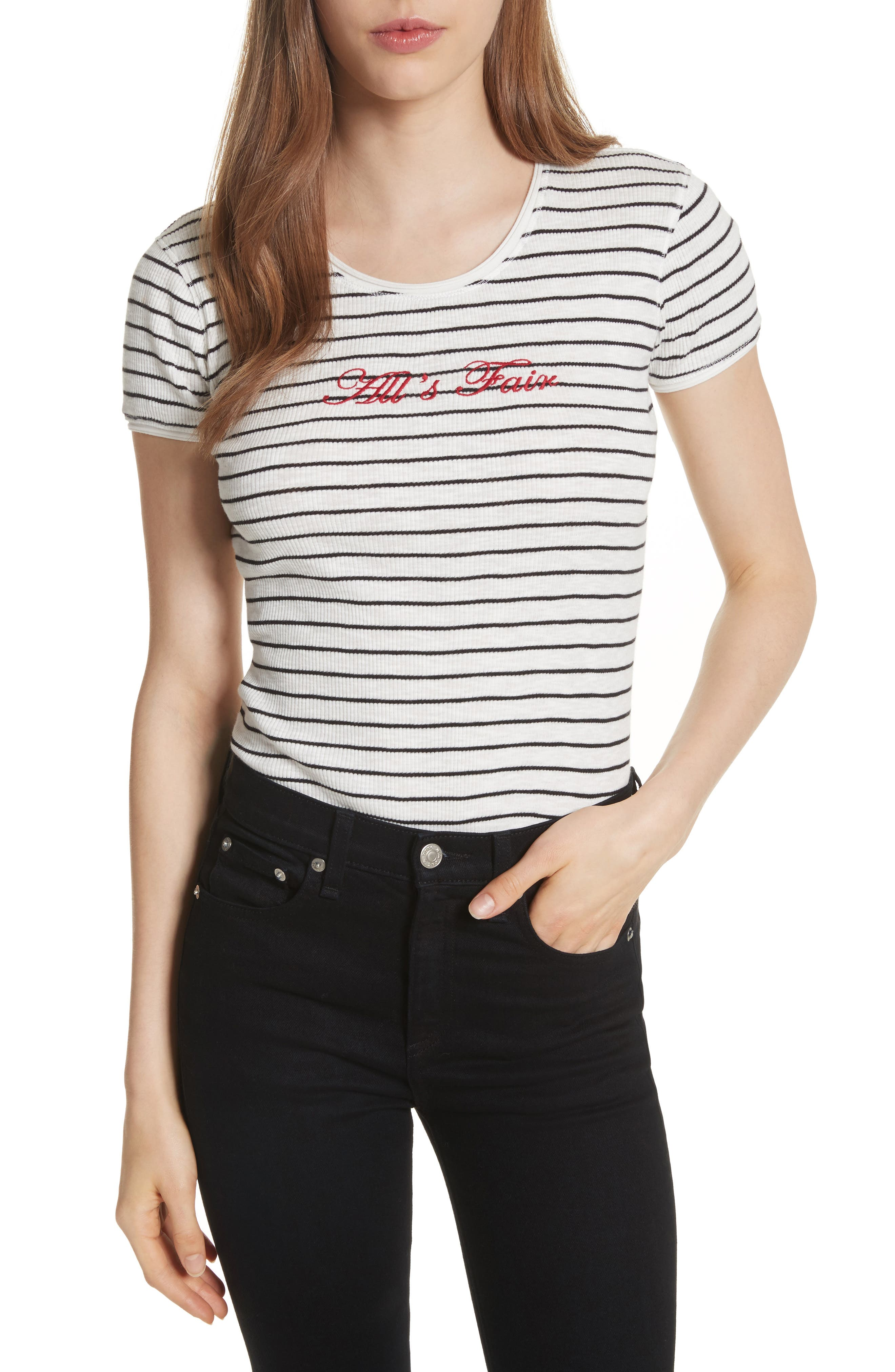Embroidered Lilies Tee,                         Main,                         color, Black/ Blanc