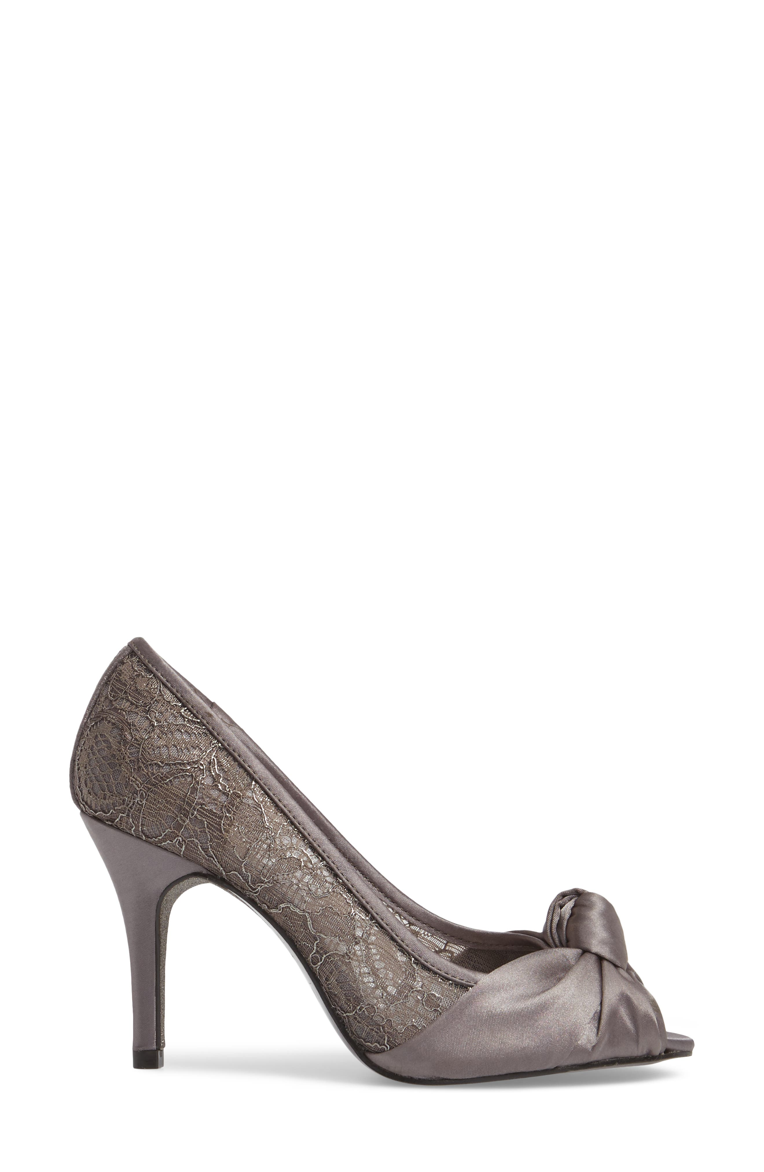 Francesca Knotted Peep Toe Pump,                             Alternate thumbnail 3, color,                             Steel Satin