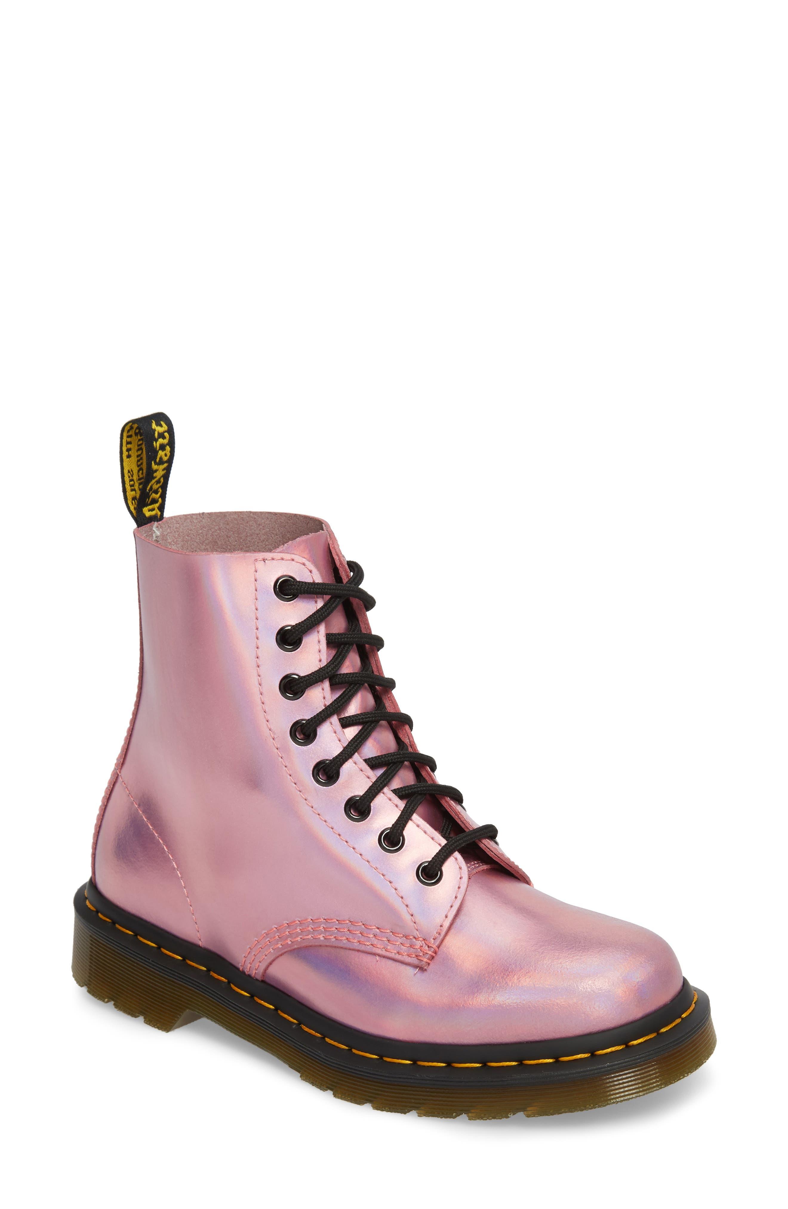 Pascal Metallic Combat Boot,                             Main thumbnail 1, color,                             Pink Metallic Leather
