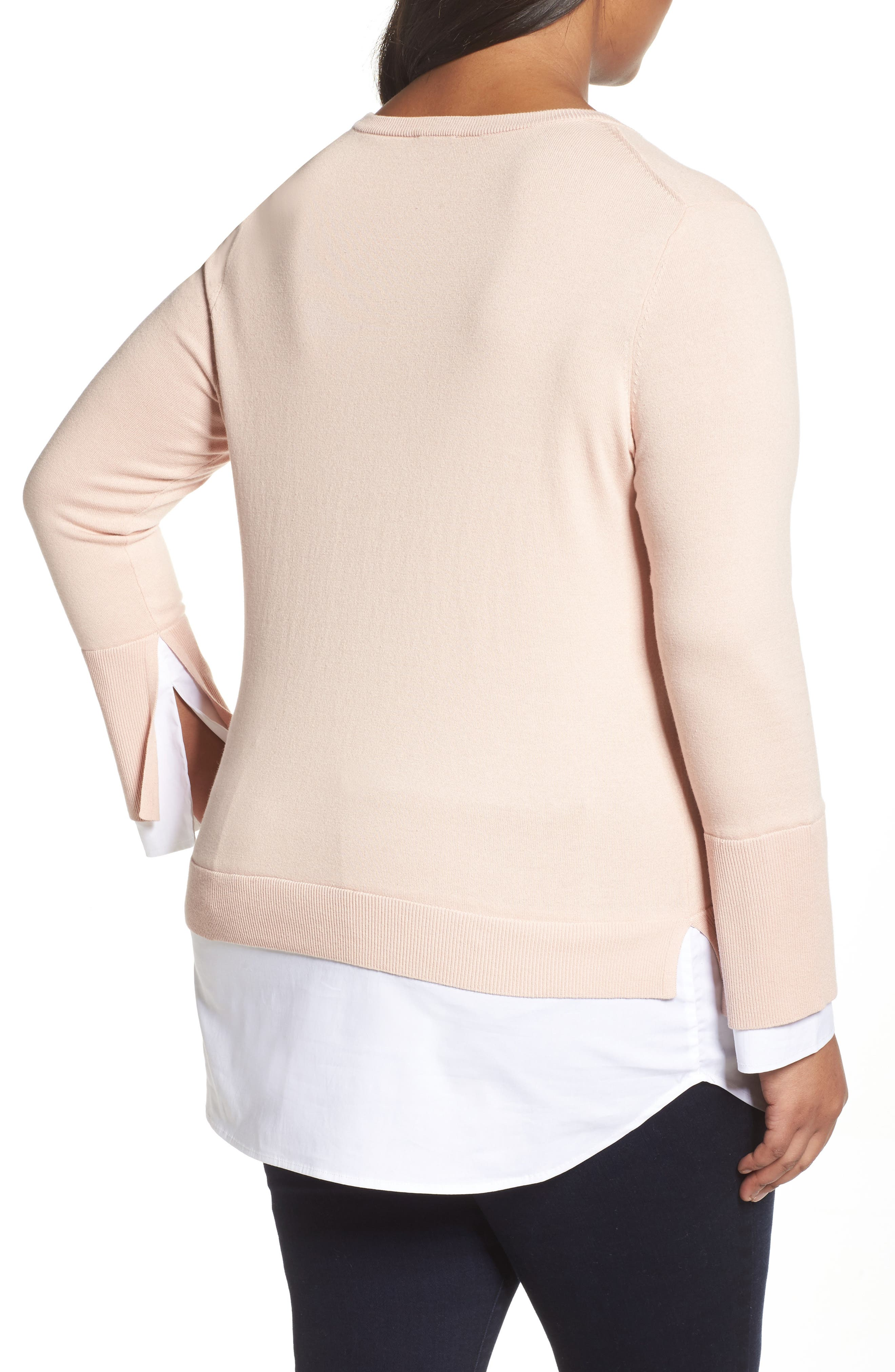 Layered Look Sweater,                             Alternate thumbnail 2, color,                             Rose Buff