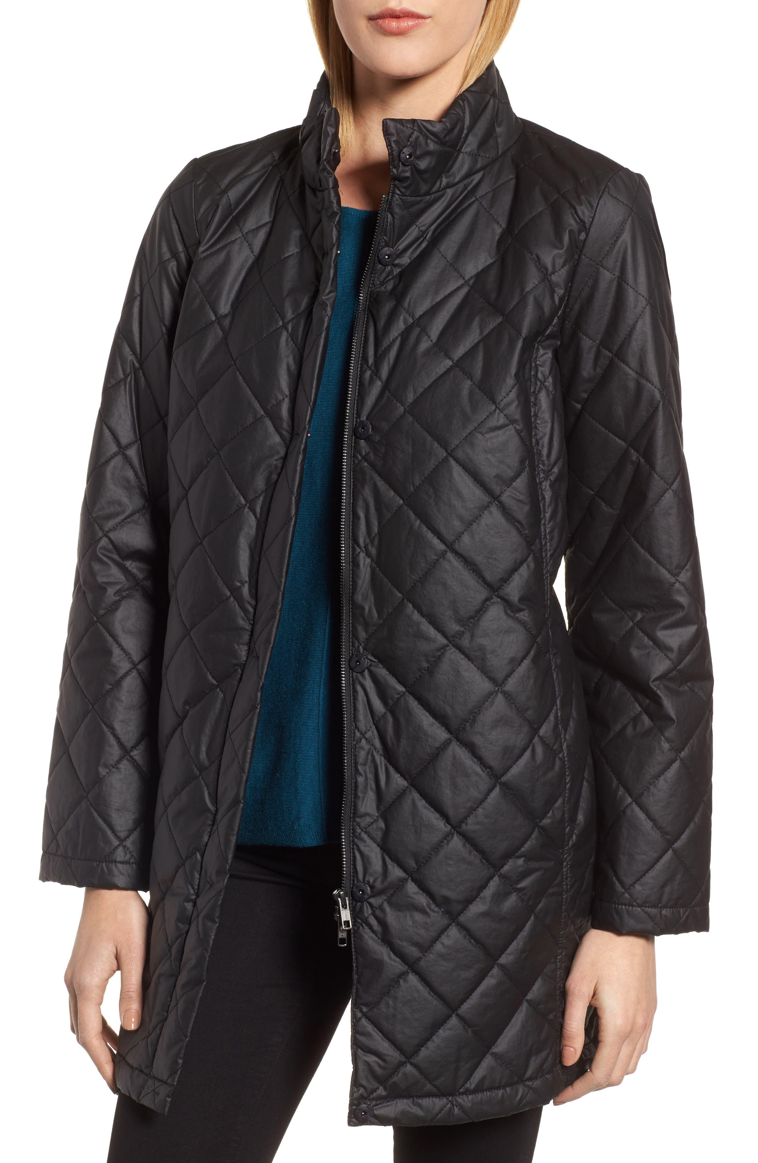 Stand Collar Organic Cotton Jacket,                             Main thumbnail 1, color,                             Black