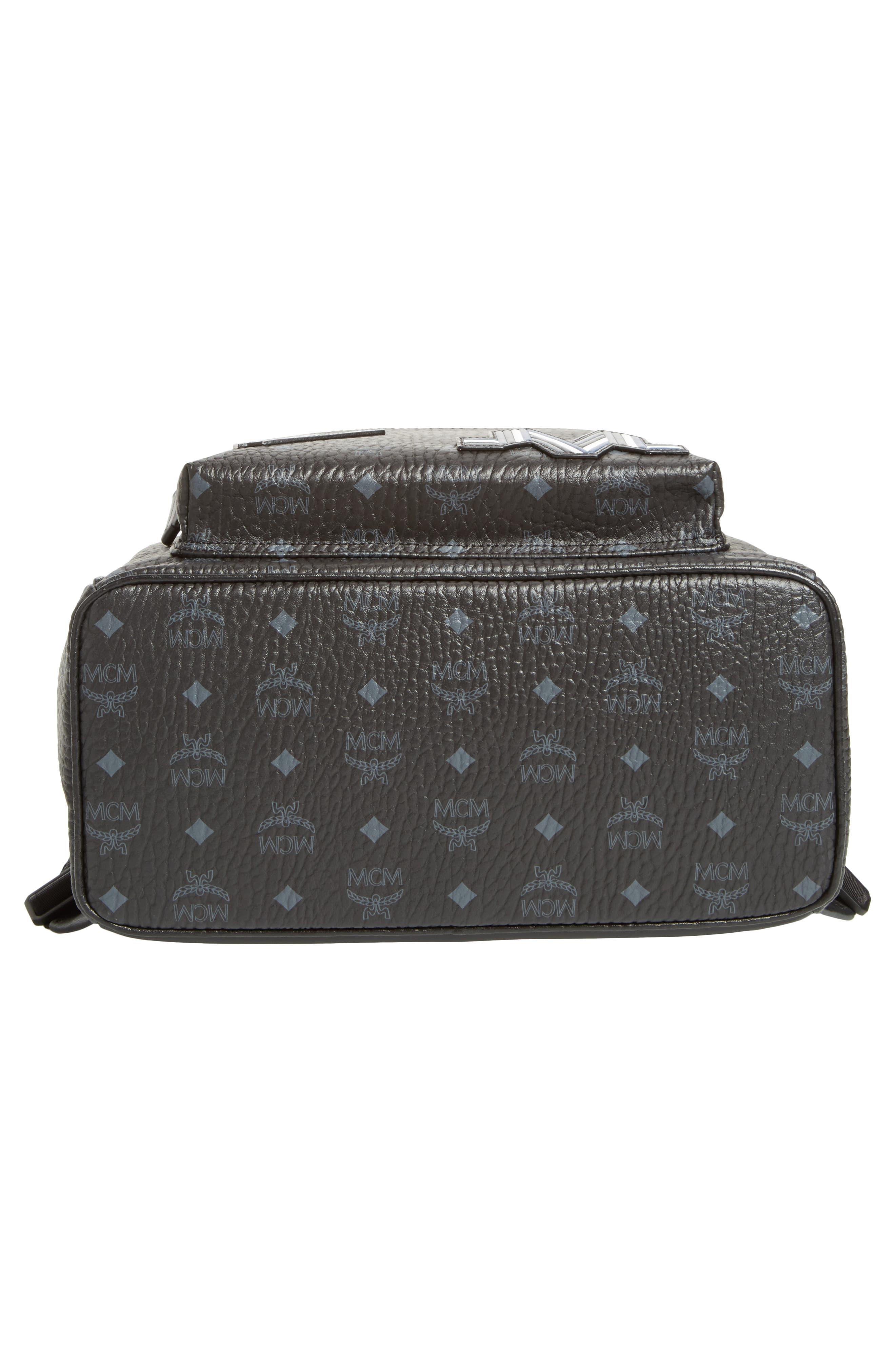 Stark Visetos Patch Faux Leather Backpack,                             Alternate thumbnail 5, color,                             Black