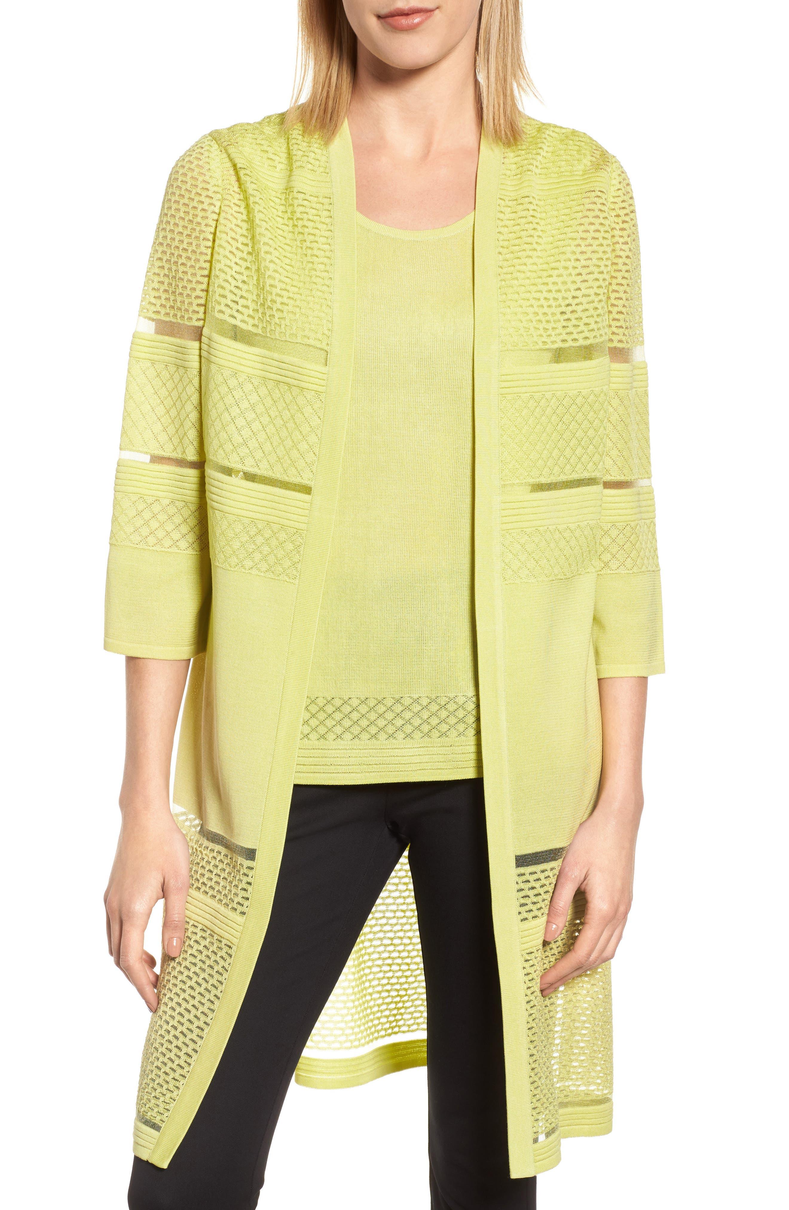 Long Jacquard Knit Jacket,                             Main thumbnail 1, color,                             Aurora