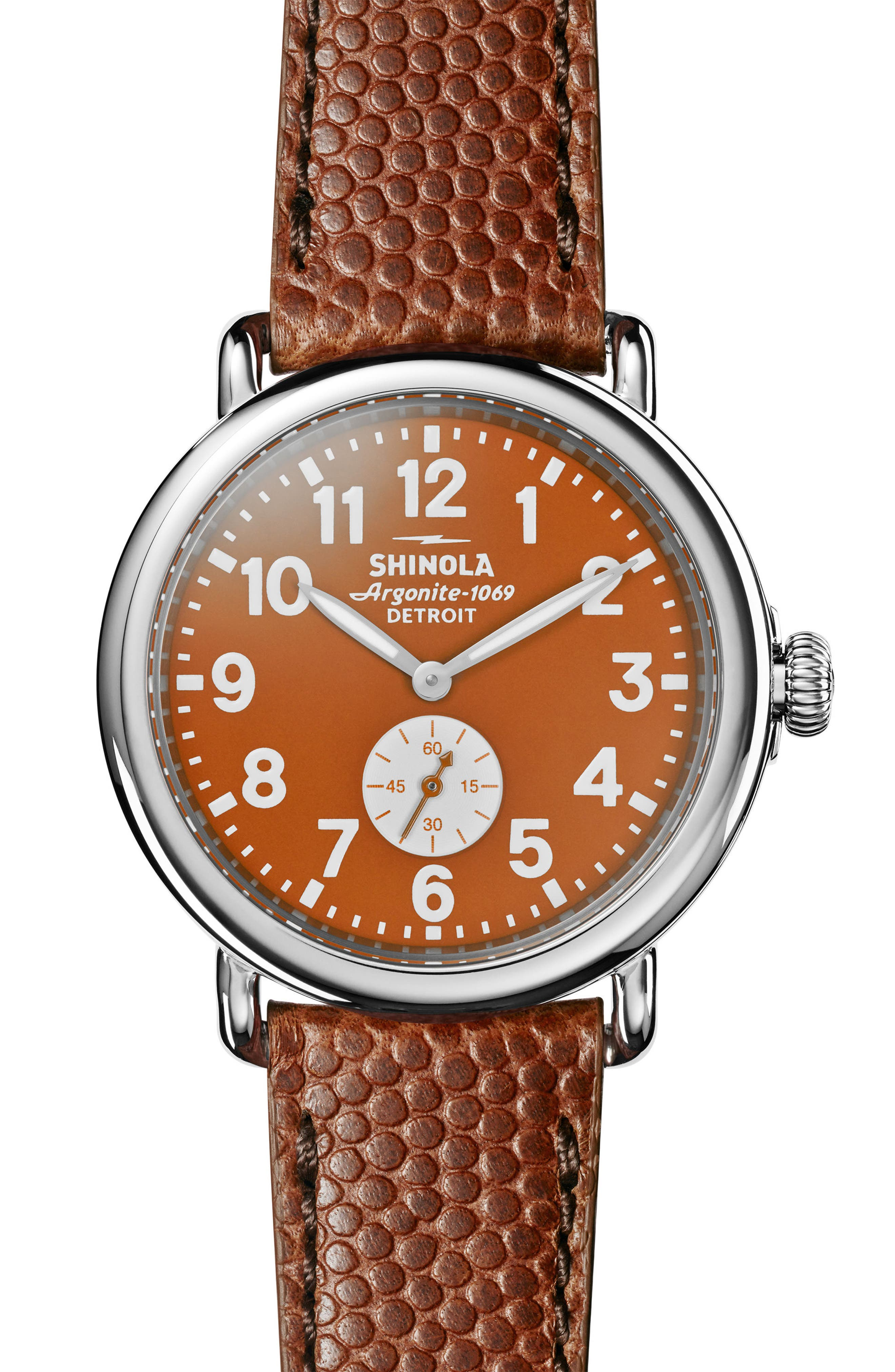 'The Runwell' Leather Strap Watch, 41mm,                         Main,                         color, Brown/ Orange/ Silver