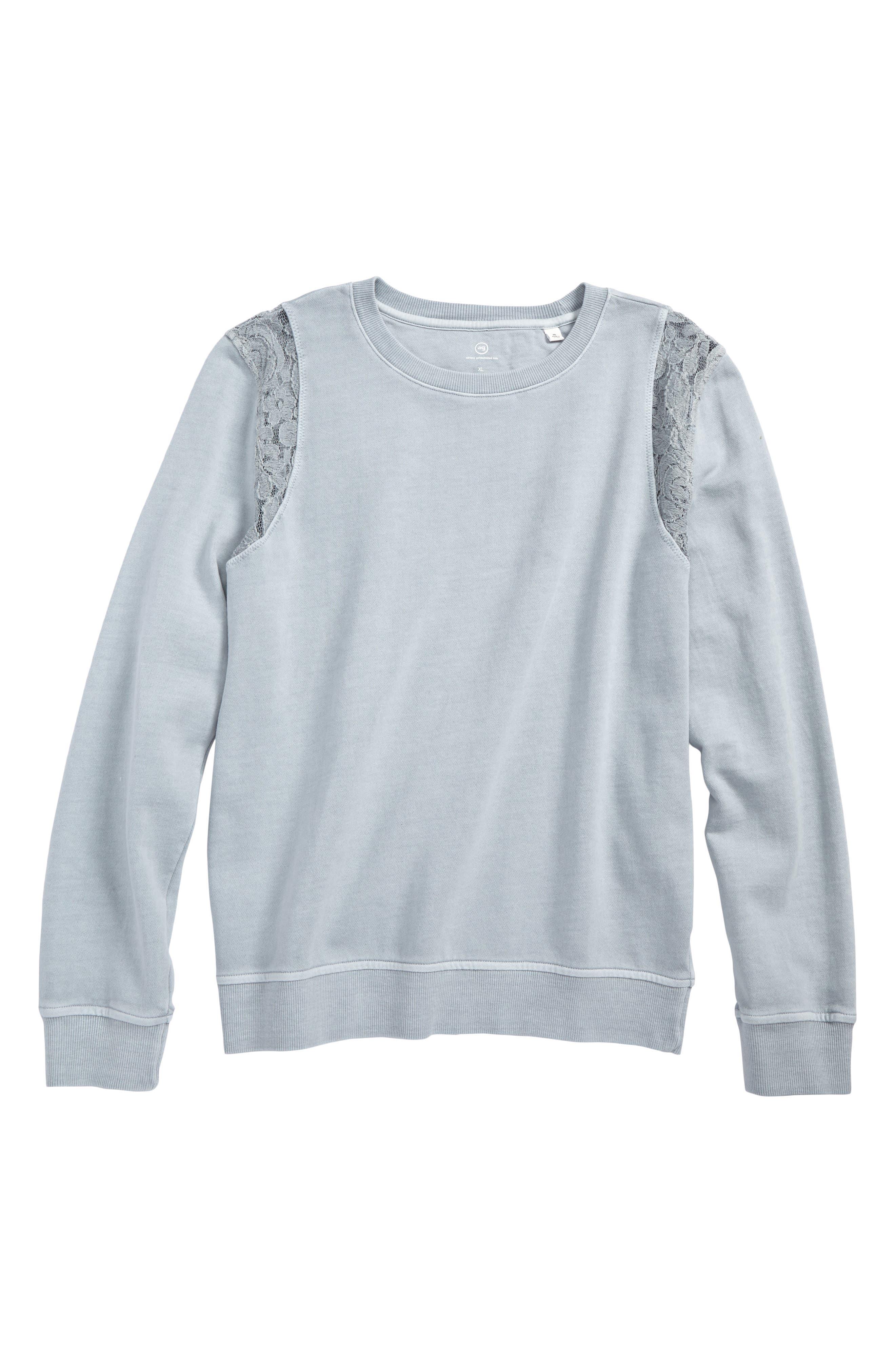 Lace Sweatshirt,                         Main,                         color, Grey Dawn