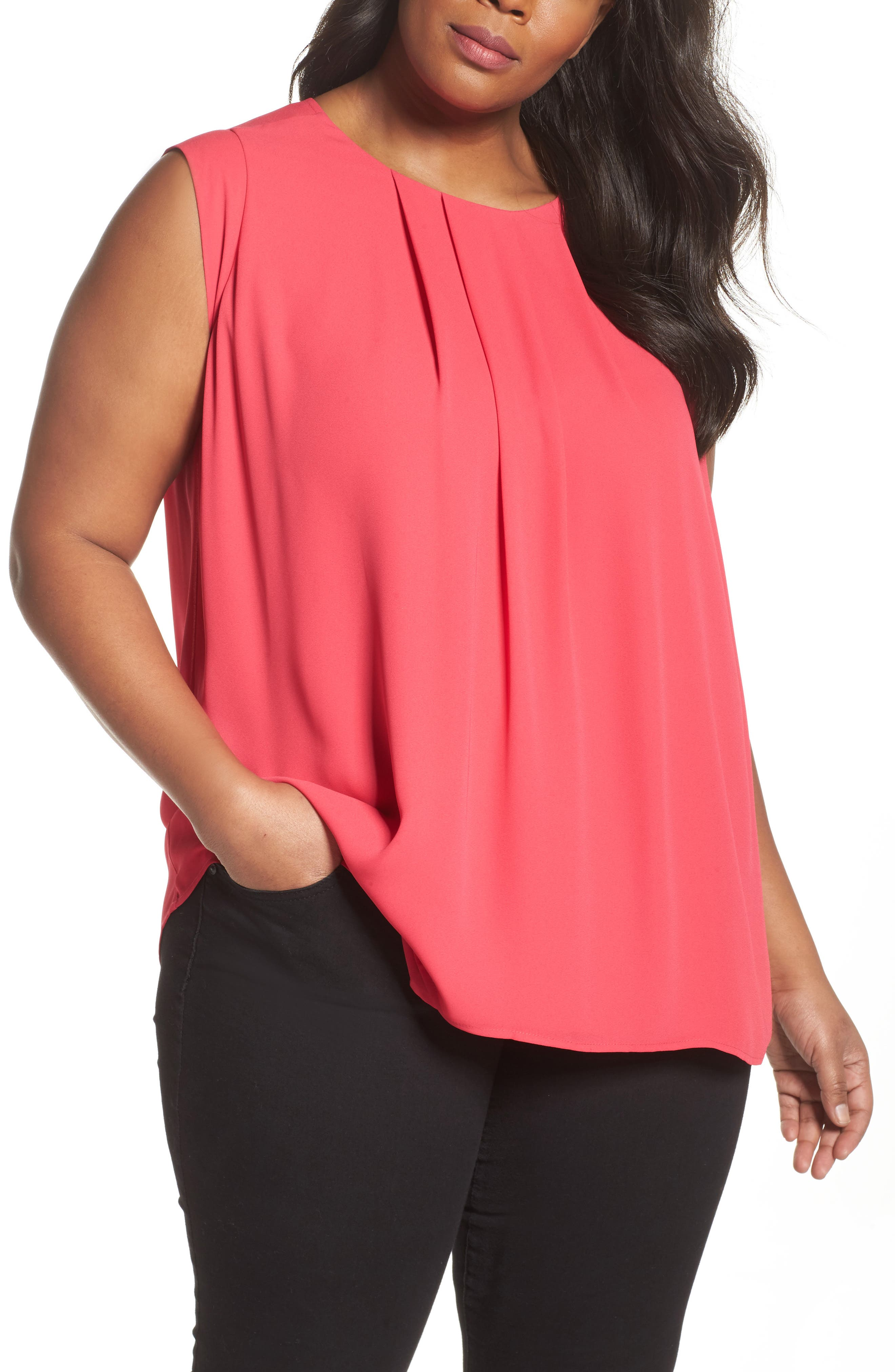 Pleated Blouse,                         Main,                         color, Vibrant Pink
