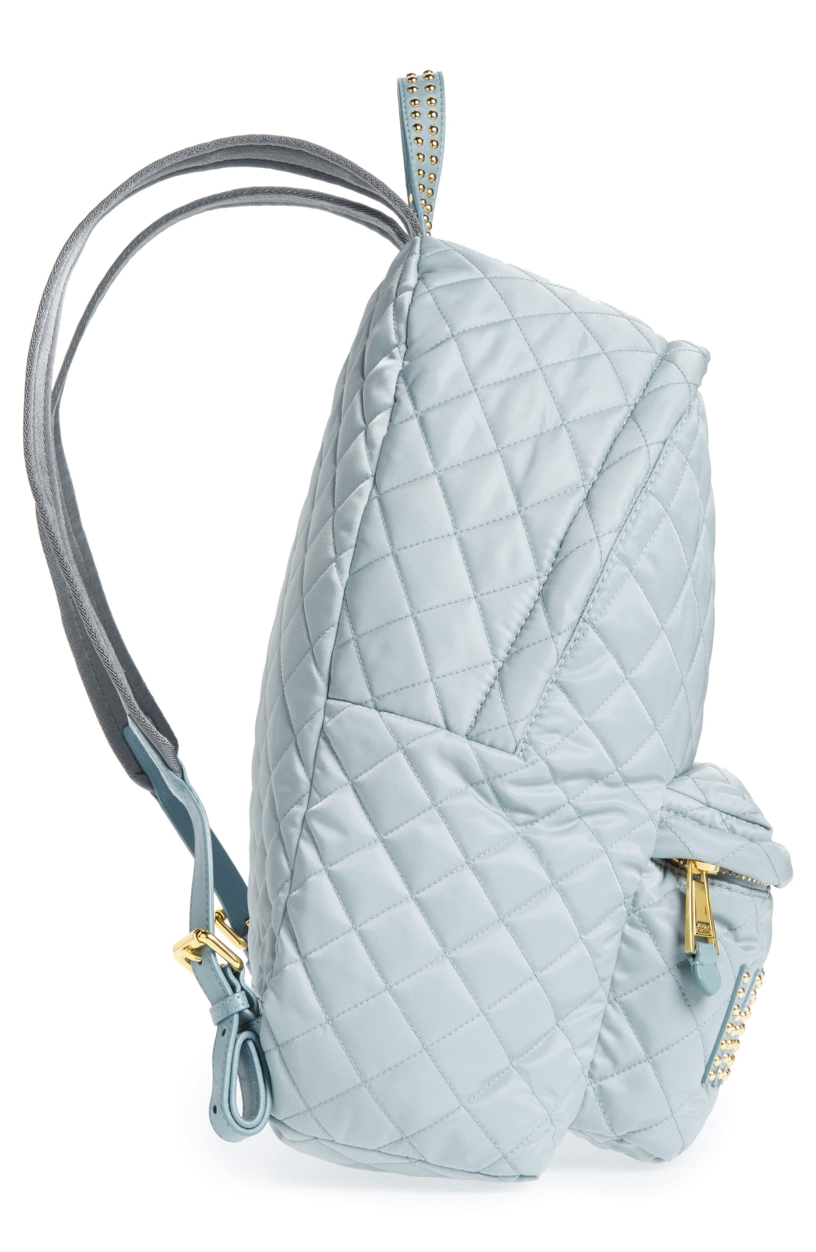 Studded Logo Quilted Nylon Backpack,                             Alternate thumbnail 4, color,                             Light Blue