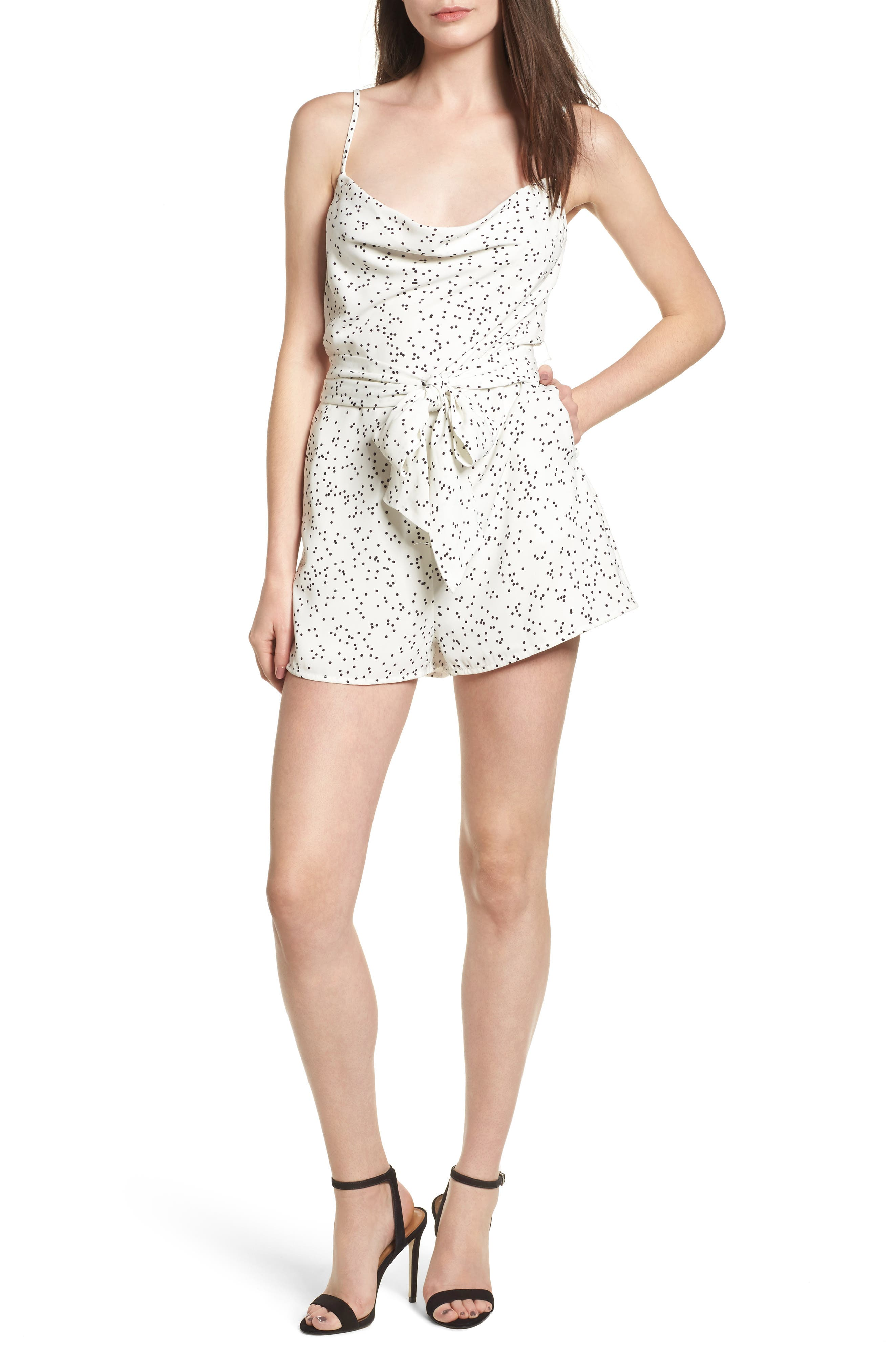 Embrace Me Romper,                         Main,                         color, White W Black Spot