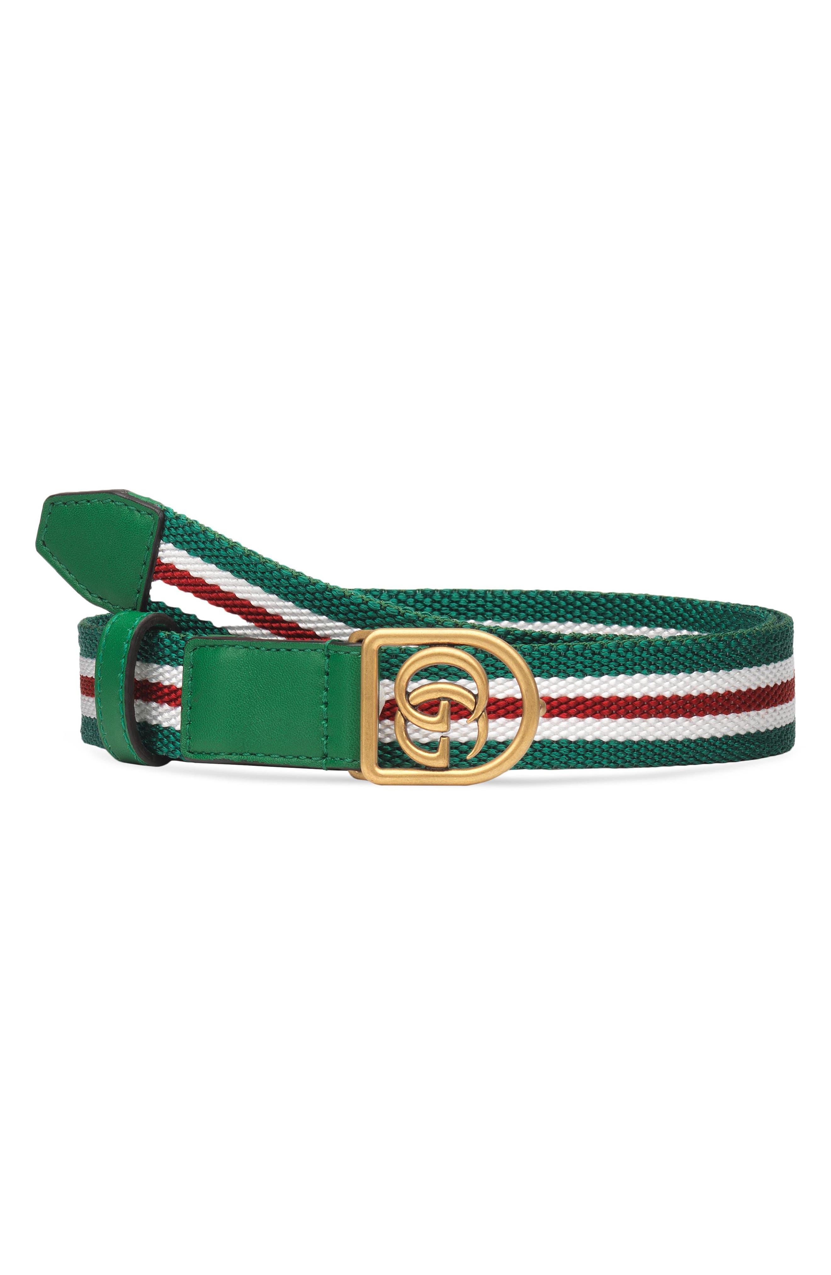 Gucci GG Logo Web Stripe Belt