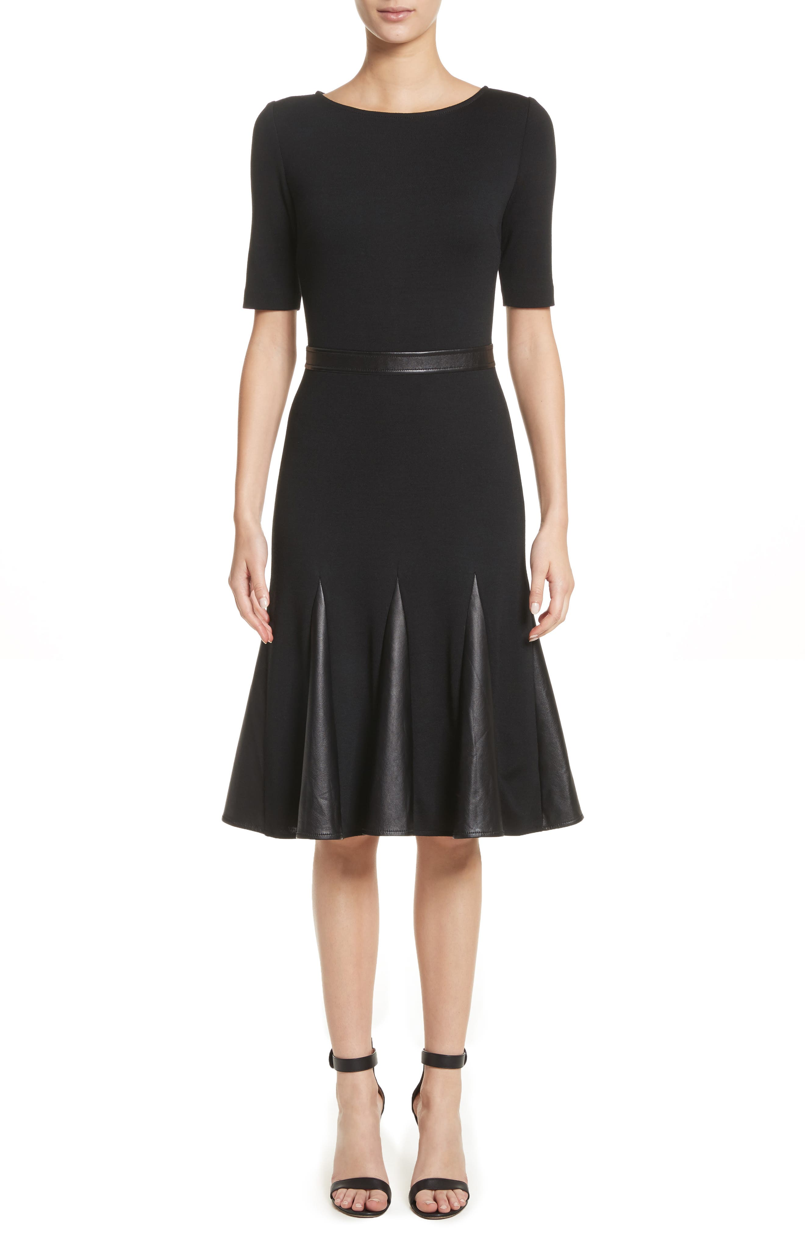 Pleated Milano Knit & Leather Dress,                         Main,                         color, Caviar