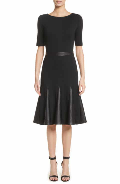 St John Collection Pleated Milano Knit & Leather Dress