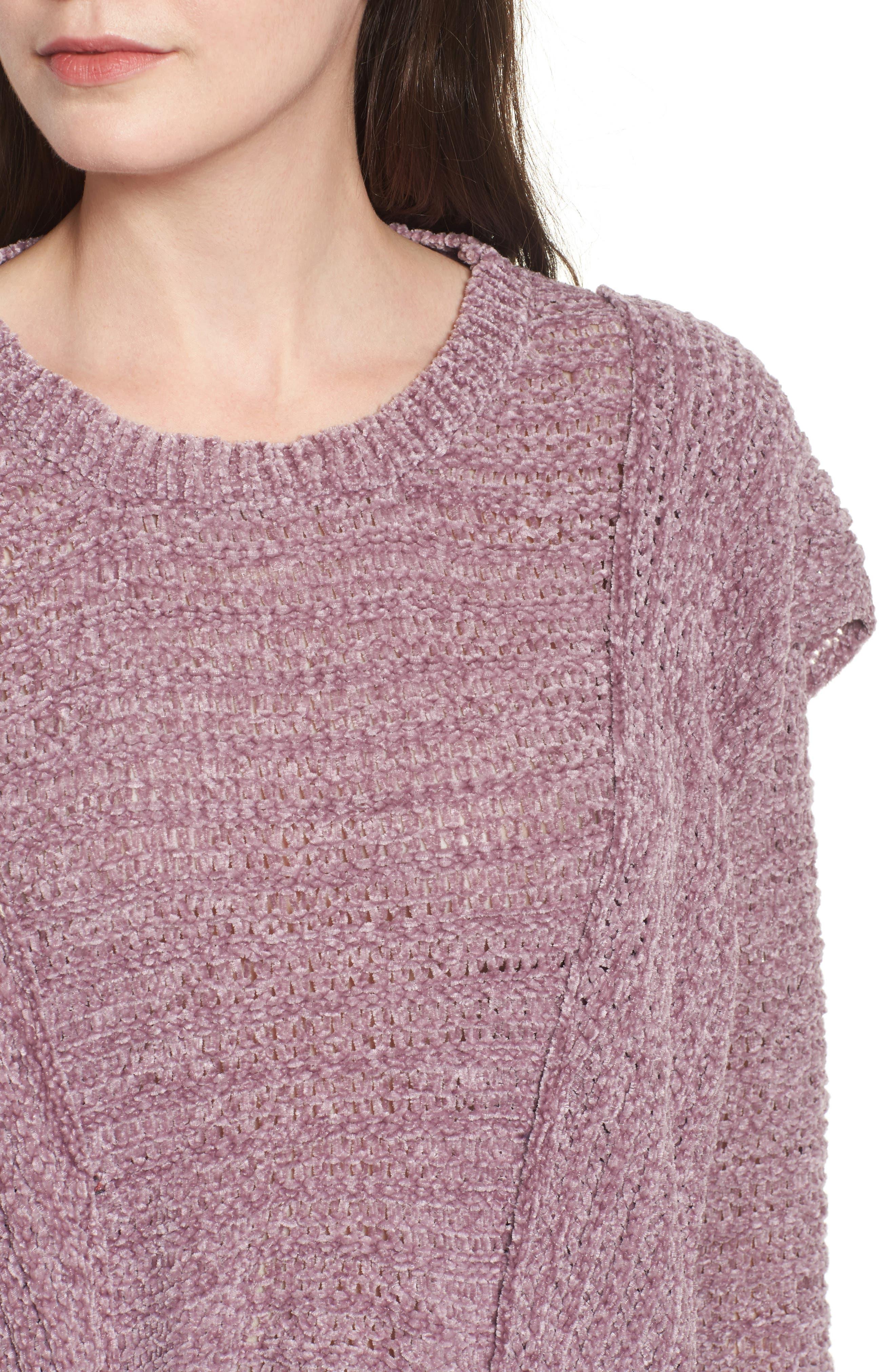 Ruffle Chenille Sweater,                             Alternate thumbnail 4, color,                             Soft Purple