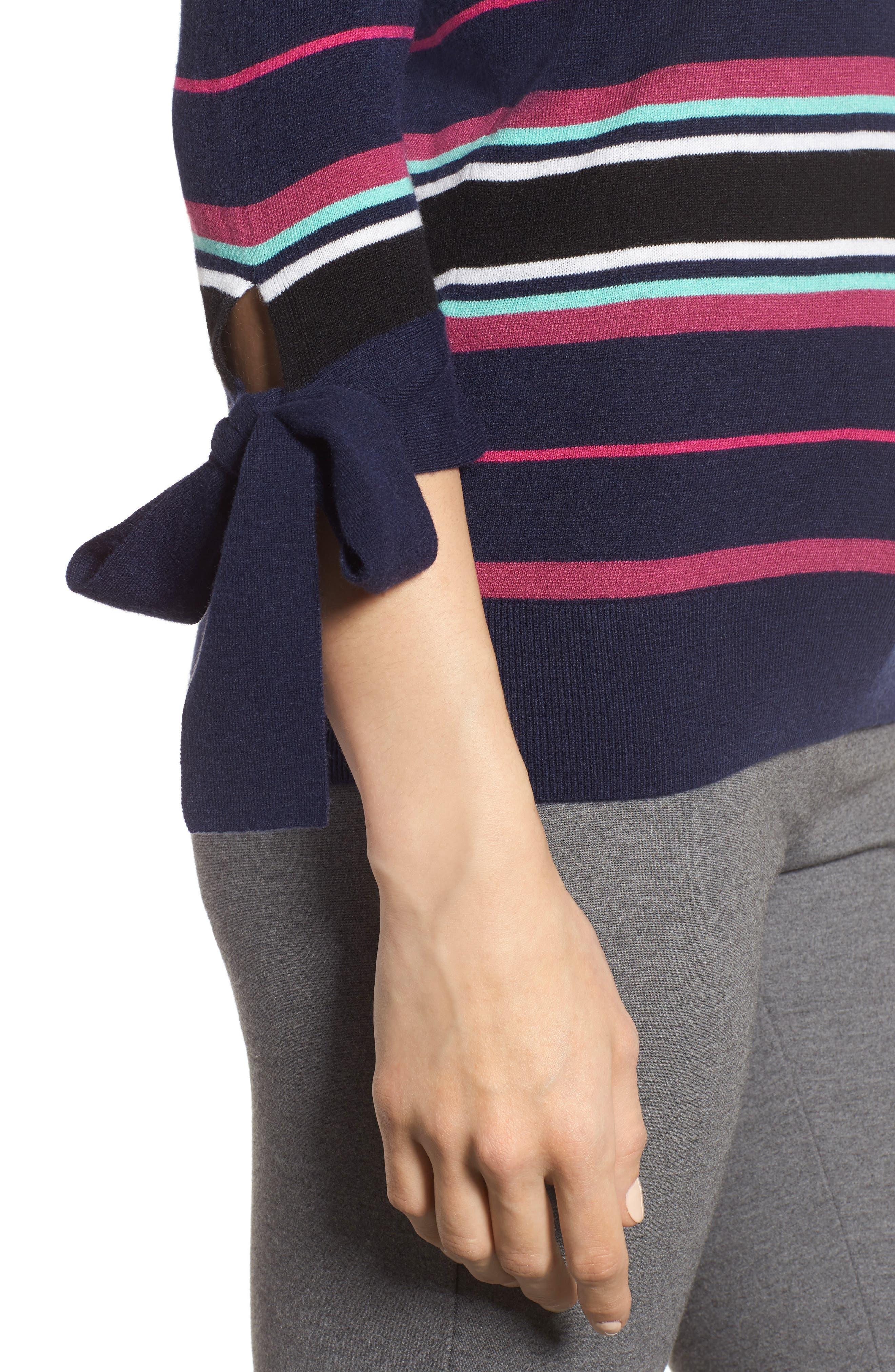 Tie Sleeve Crewneck Sweater,                             Alternate thumbnail 4, color,                             Navy/ Pink Multi Stripe