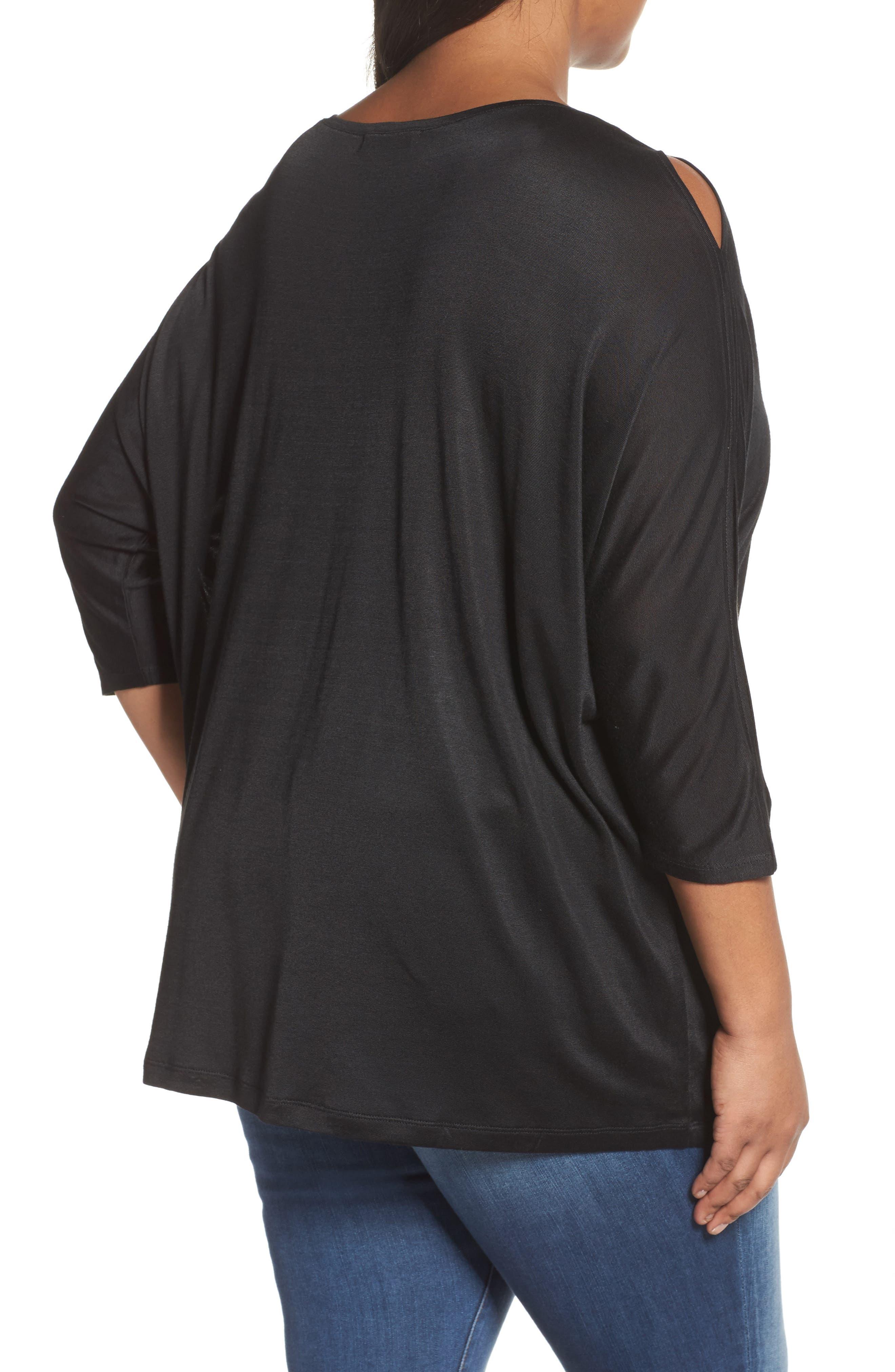 Slit Sleeve Top,                             Alternate thumbnail 2, color,                             Black
