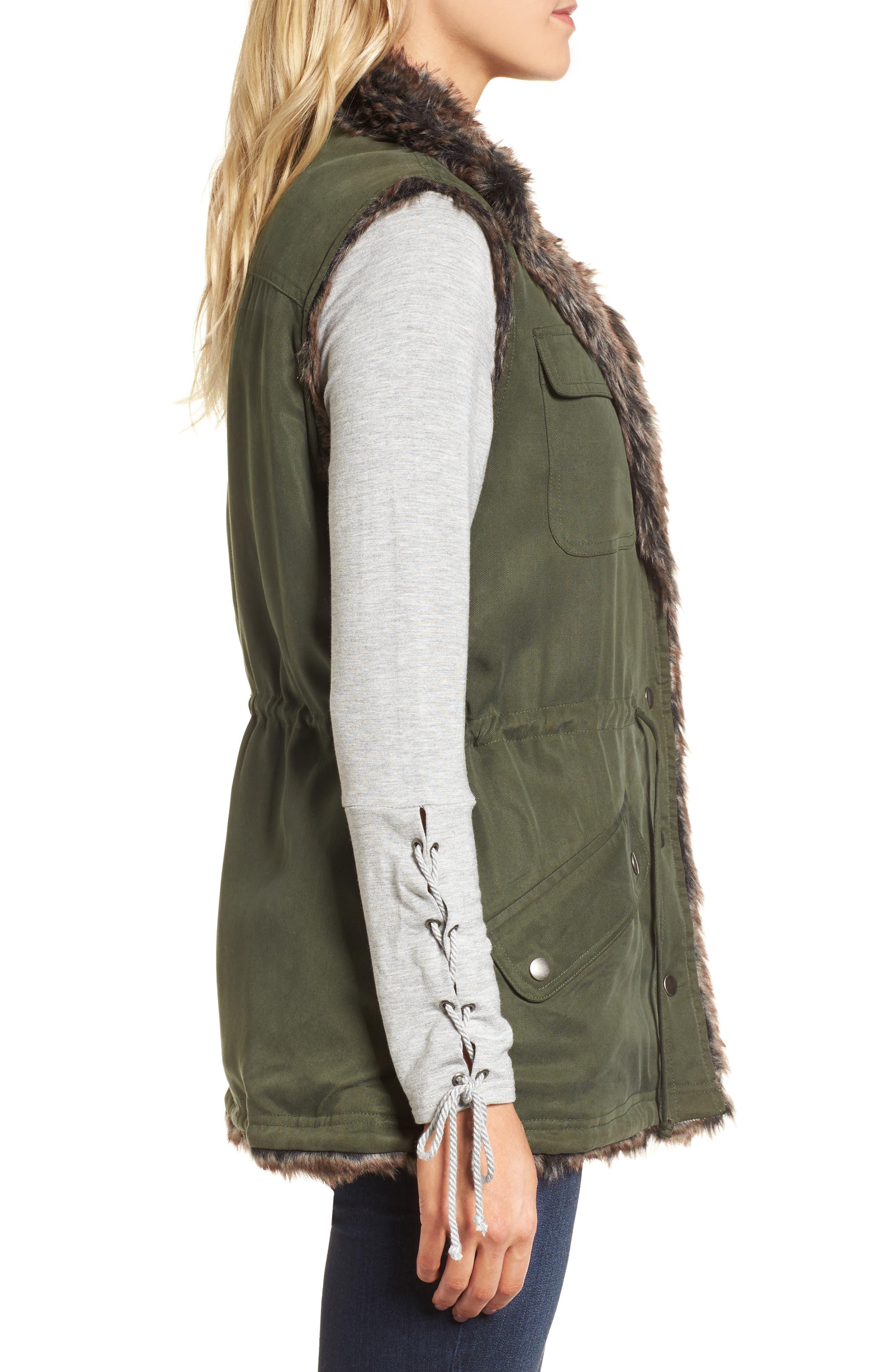 Ashling Faux Fur Lined Utility Vest,                             Alternate thumbnail 3, color,                             Army