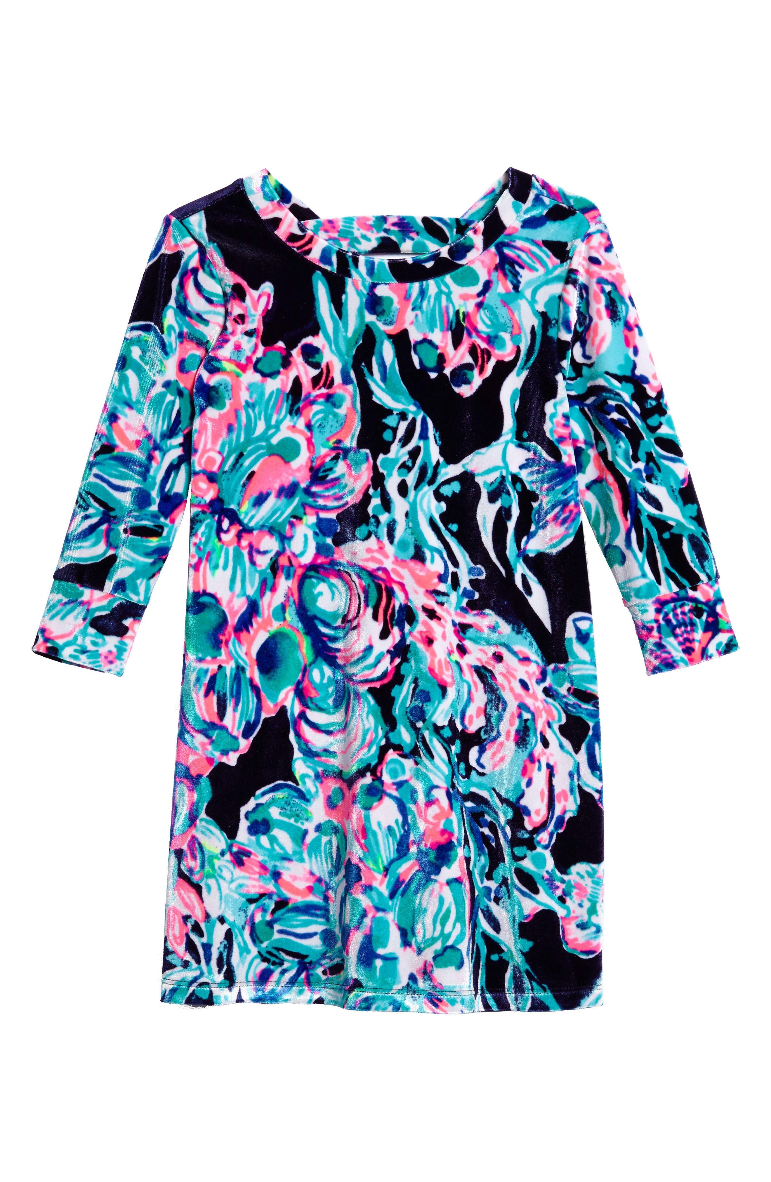 Main Image - Lilly Pulitzer® Mini Olive Velour Dress (Toddler Girls, Little Girls & Big Girls)