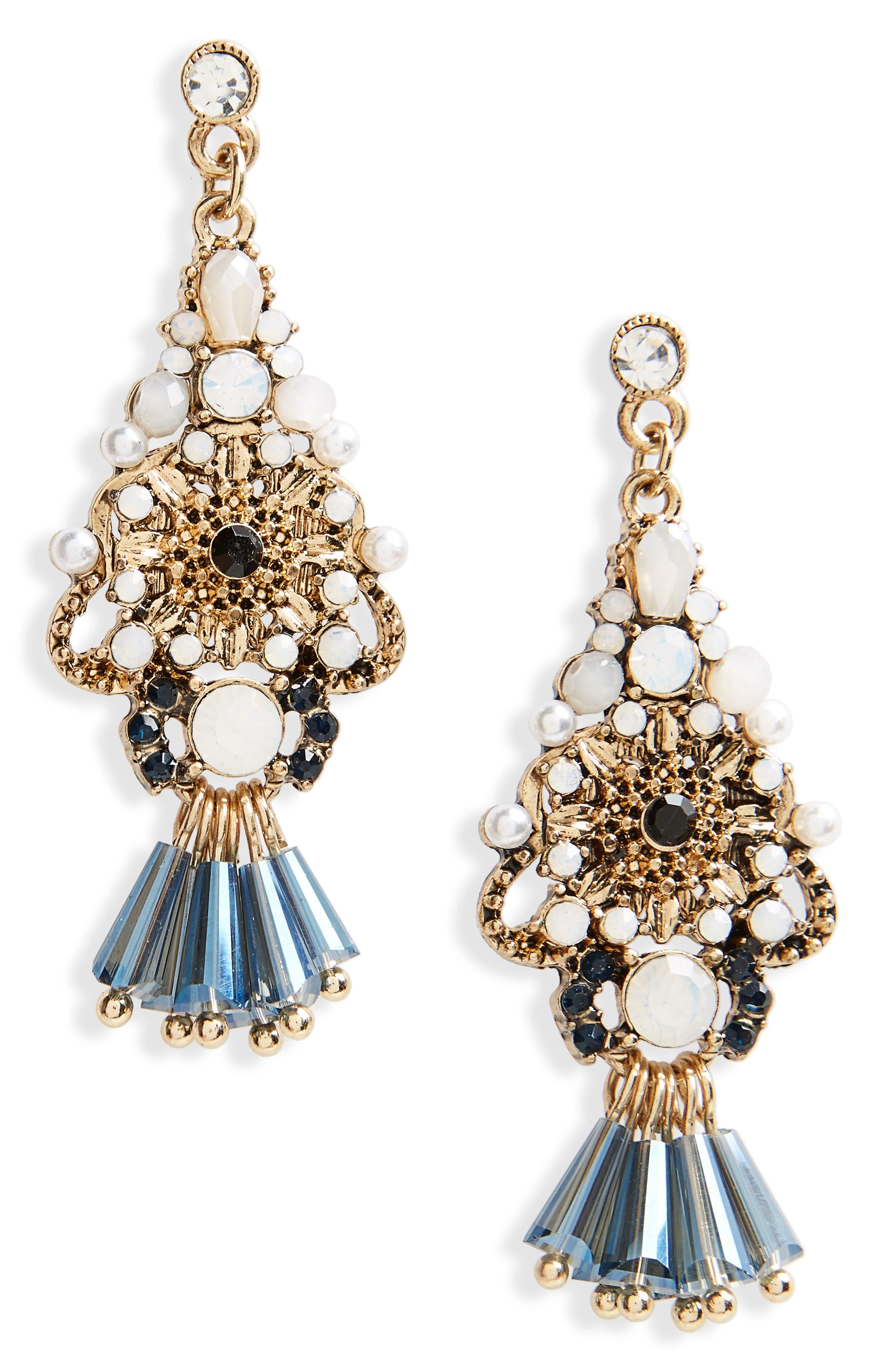 BP. Beaded Crystal Drop Earrings