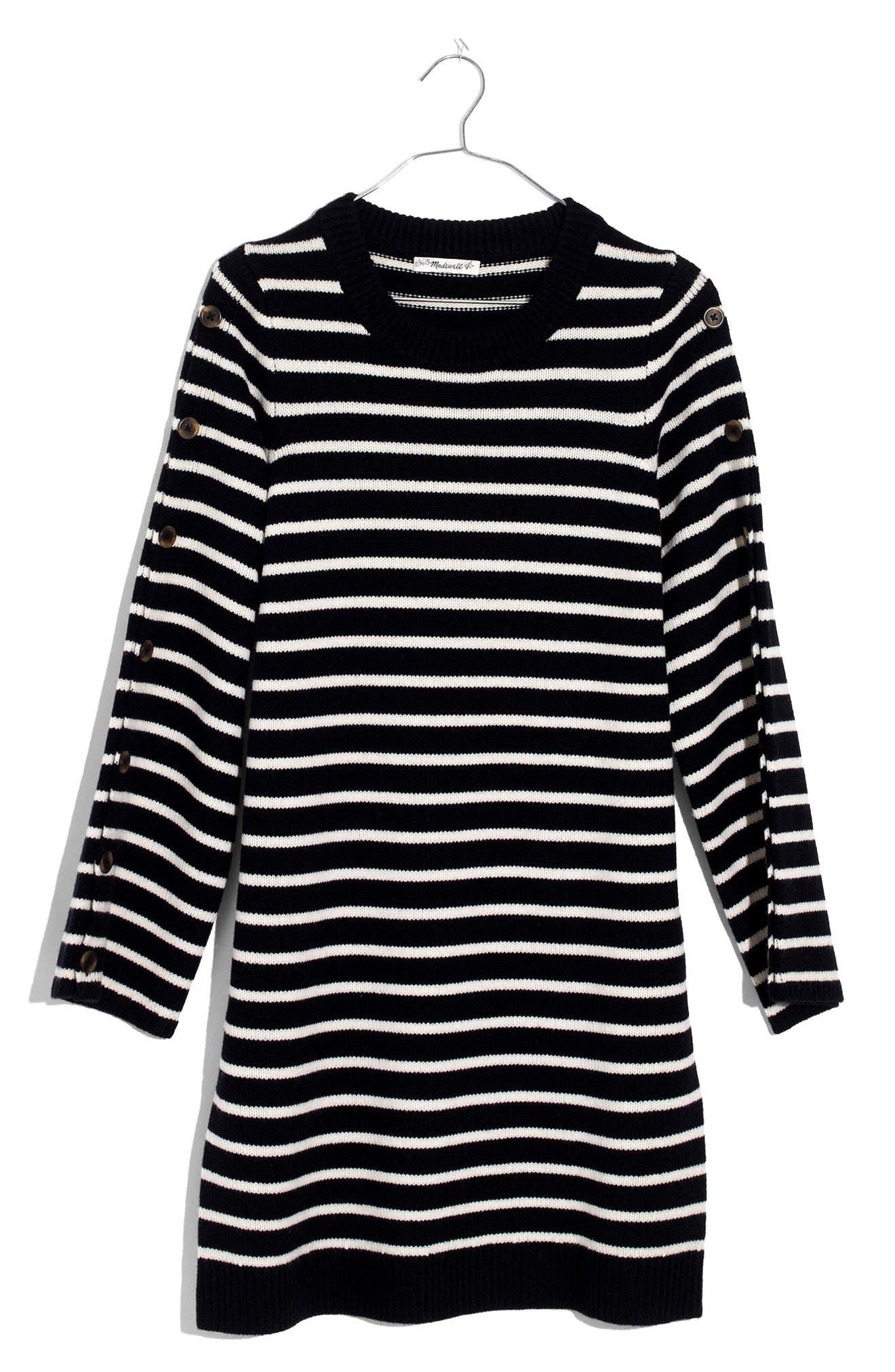 Stripe Sweater Dress,                             Alternate thumbnail 4, color,                             True Black