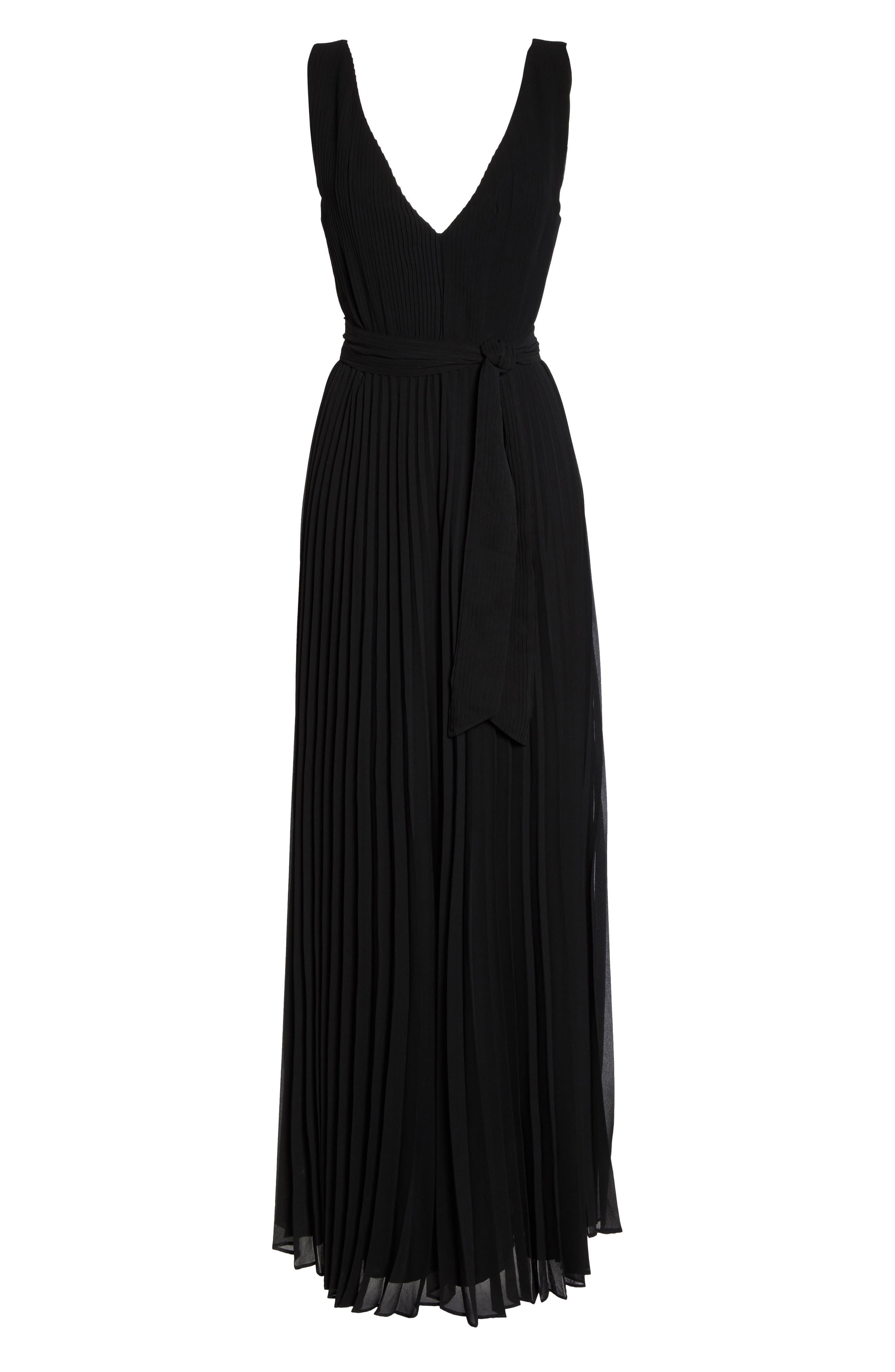 Gardenia Pleat Gown,                             Alternate thumbnail 6, color,                             Black