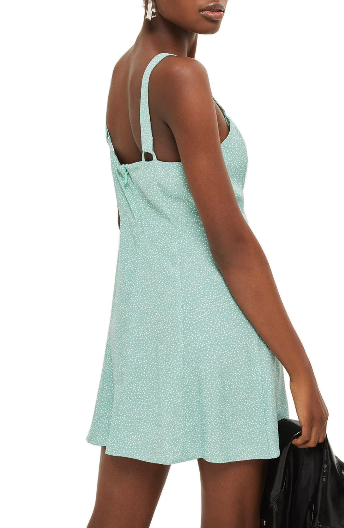 Alternate Image 2  - Topshop Polka Dot Lace-Up Minidress