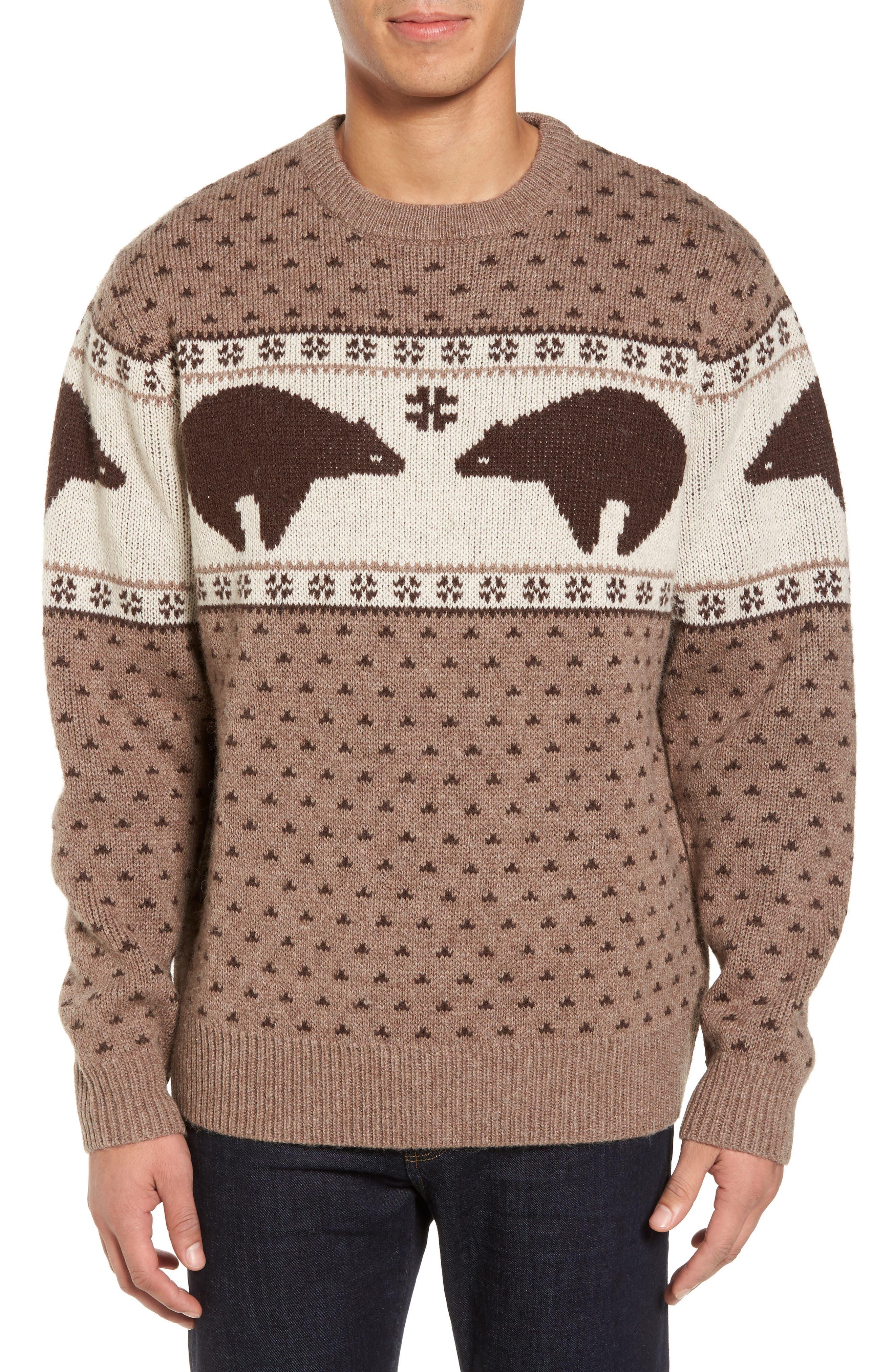 Bear Sweater,                             Main thumbnail 1, color,                             Brown/ Ivory Bear
