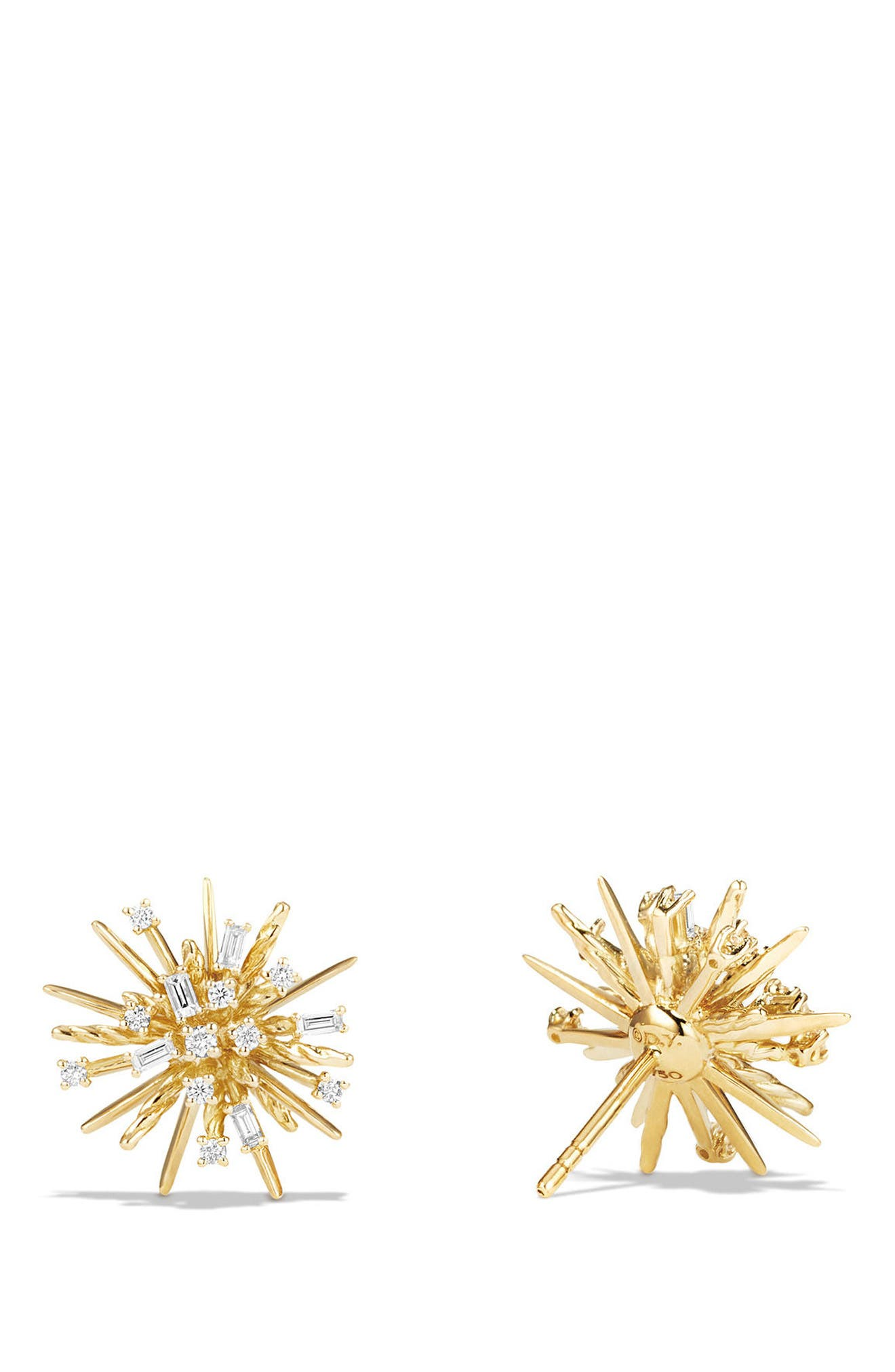 Supernova Stud Earrings with Diamonds in 18K Gold,                             Alternate thumbnail 2, color,                             Yellow Gold