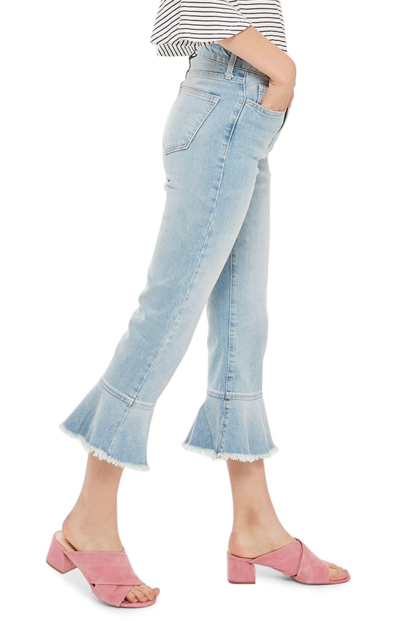 Topshop Dree Frill Hem Kick Flare Jeans