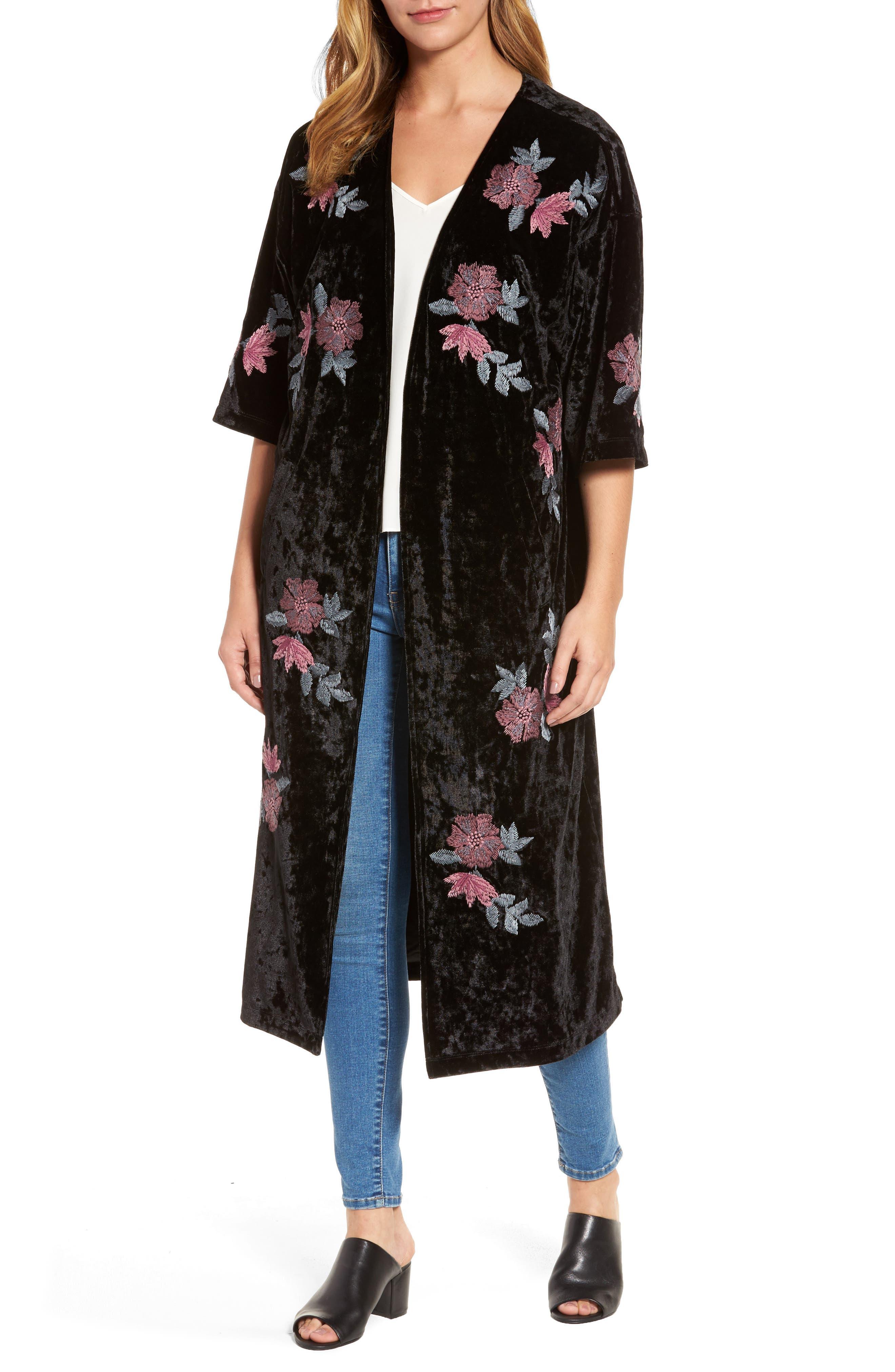Floral Velvet Long Jacket,                         Main,                         color, Black