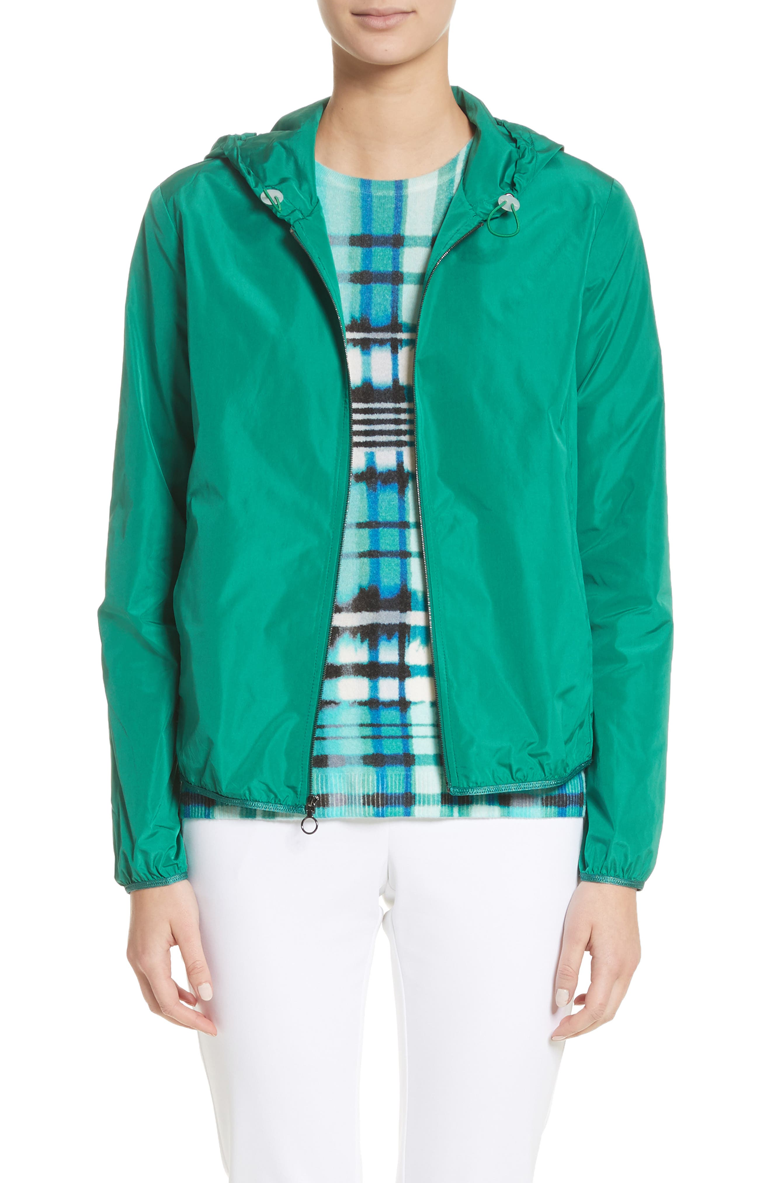 Lightweight Taffeta Hooded Jacket,                         Main,                         color, Emerald