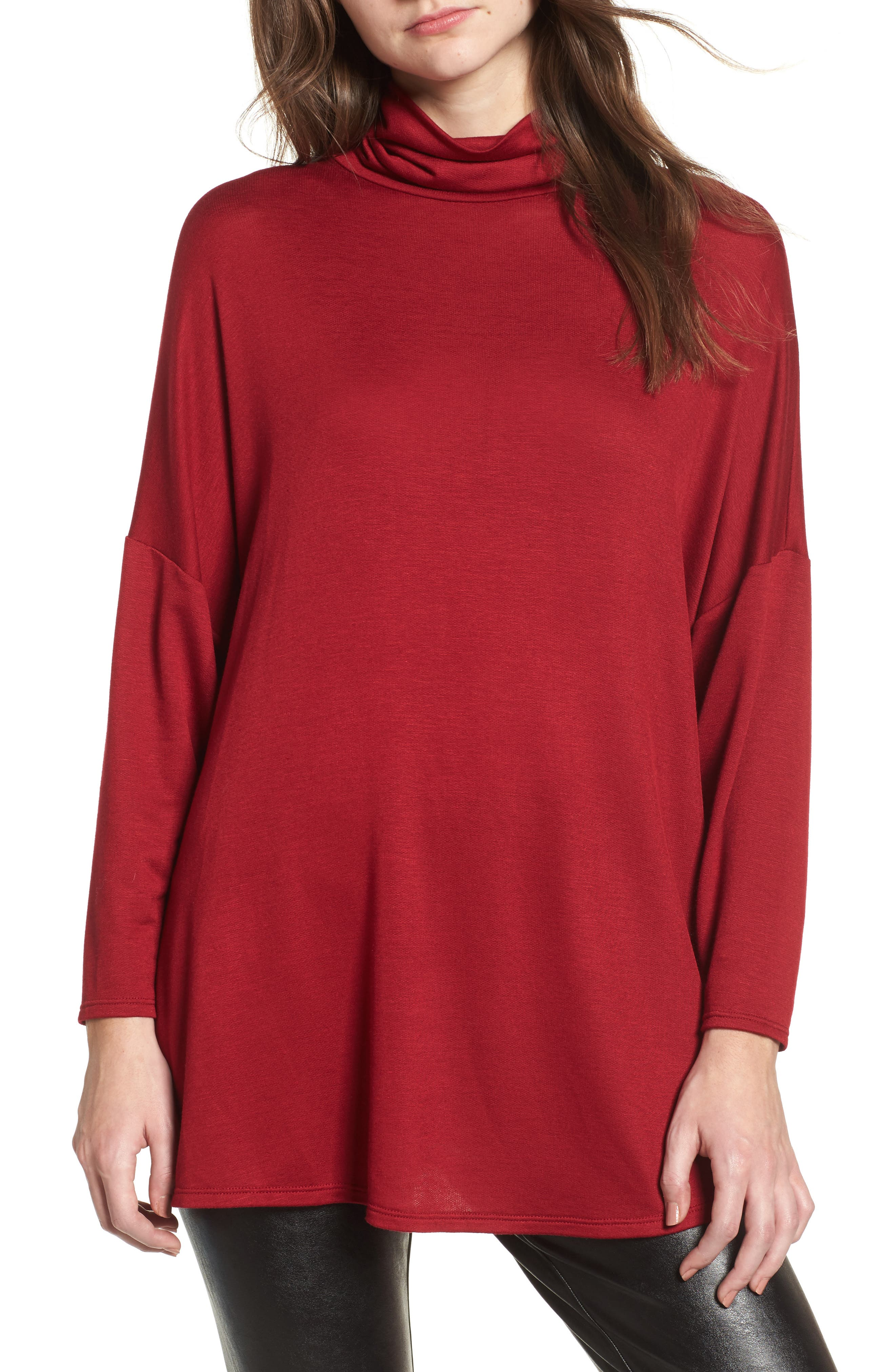 Mock Neck Tunic,                         Main,                         color, Wine