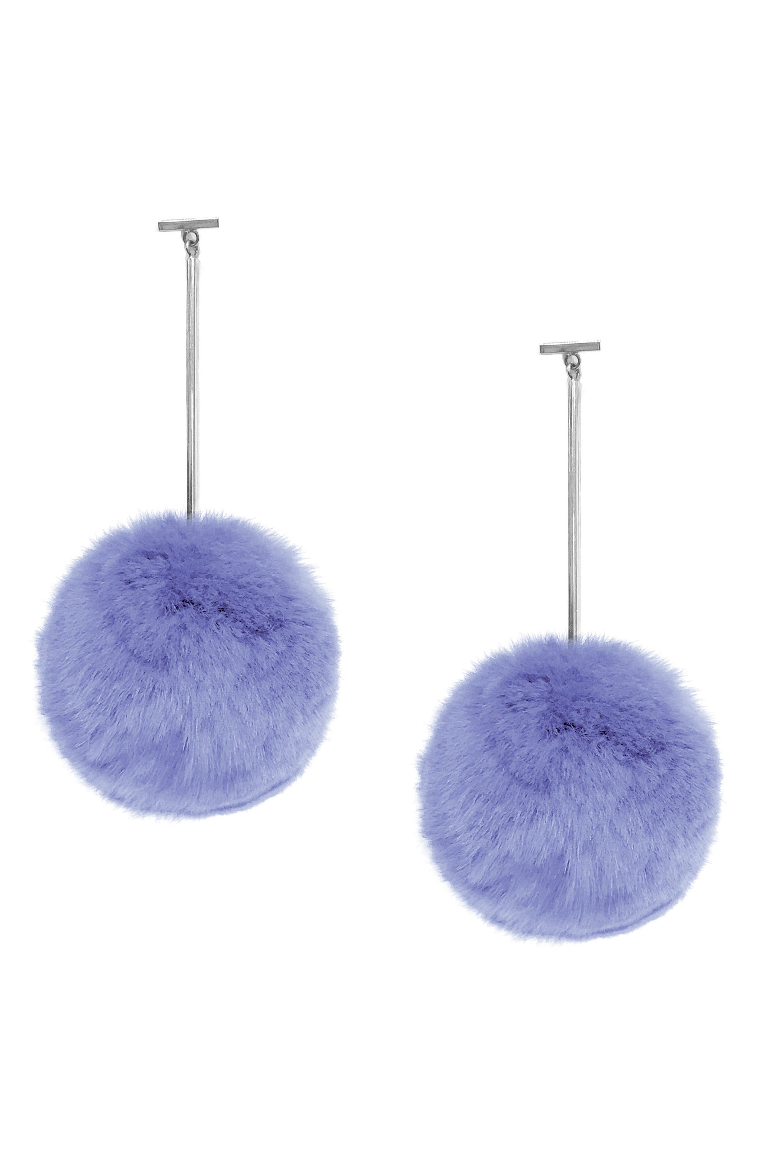 Pompom Drop Earrings,                             Main thumbnail 1, color,                             Silver/ Ice Blue