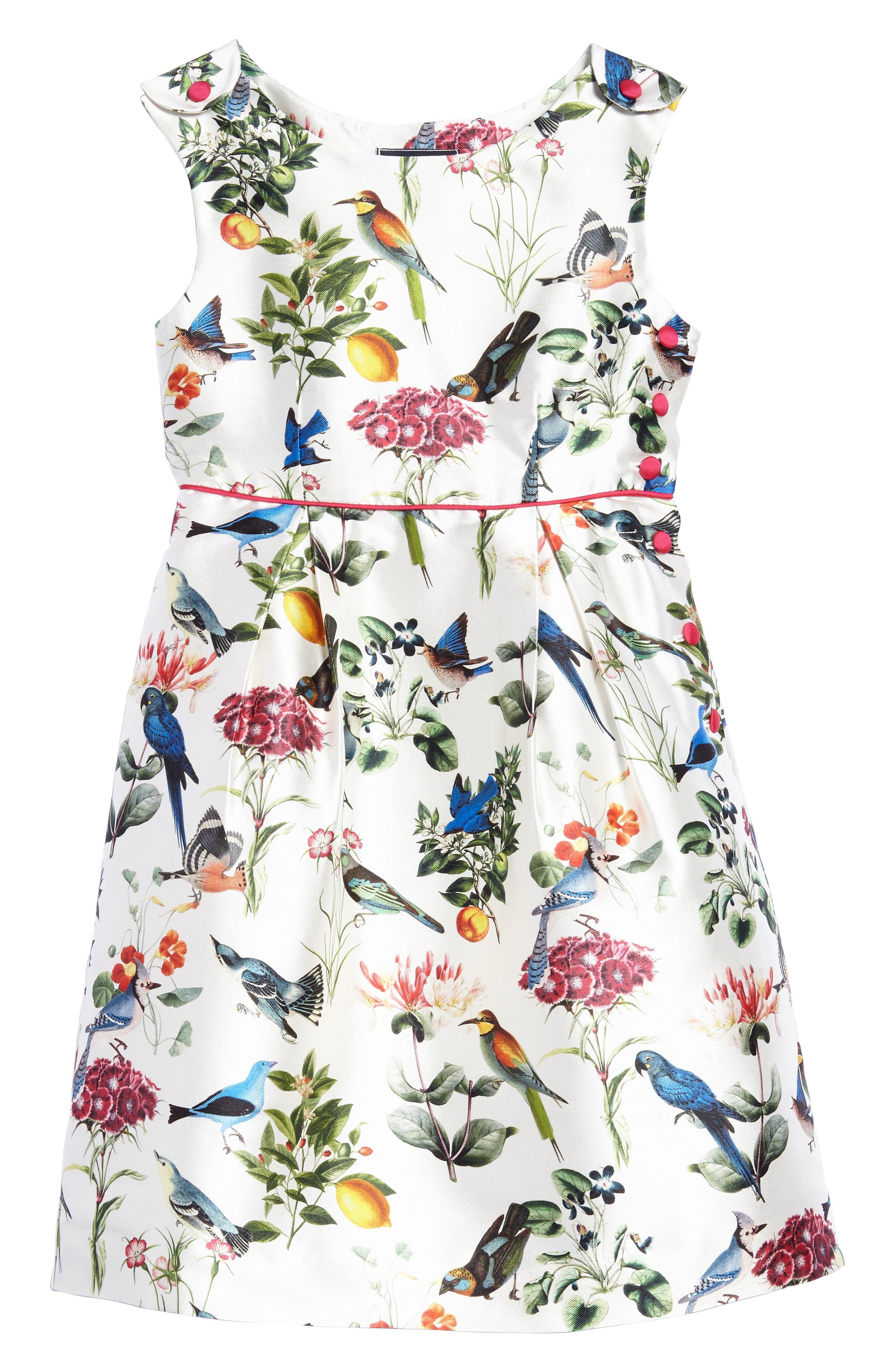 Botanical Birds Mikado Party Dress,                         Main,                         color, White Multi