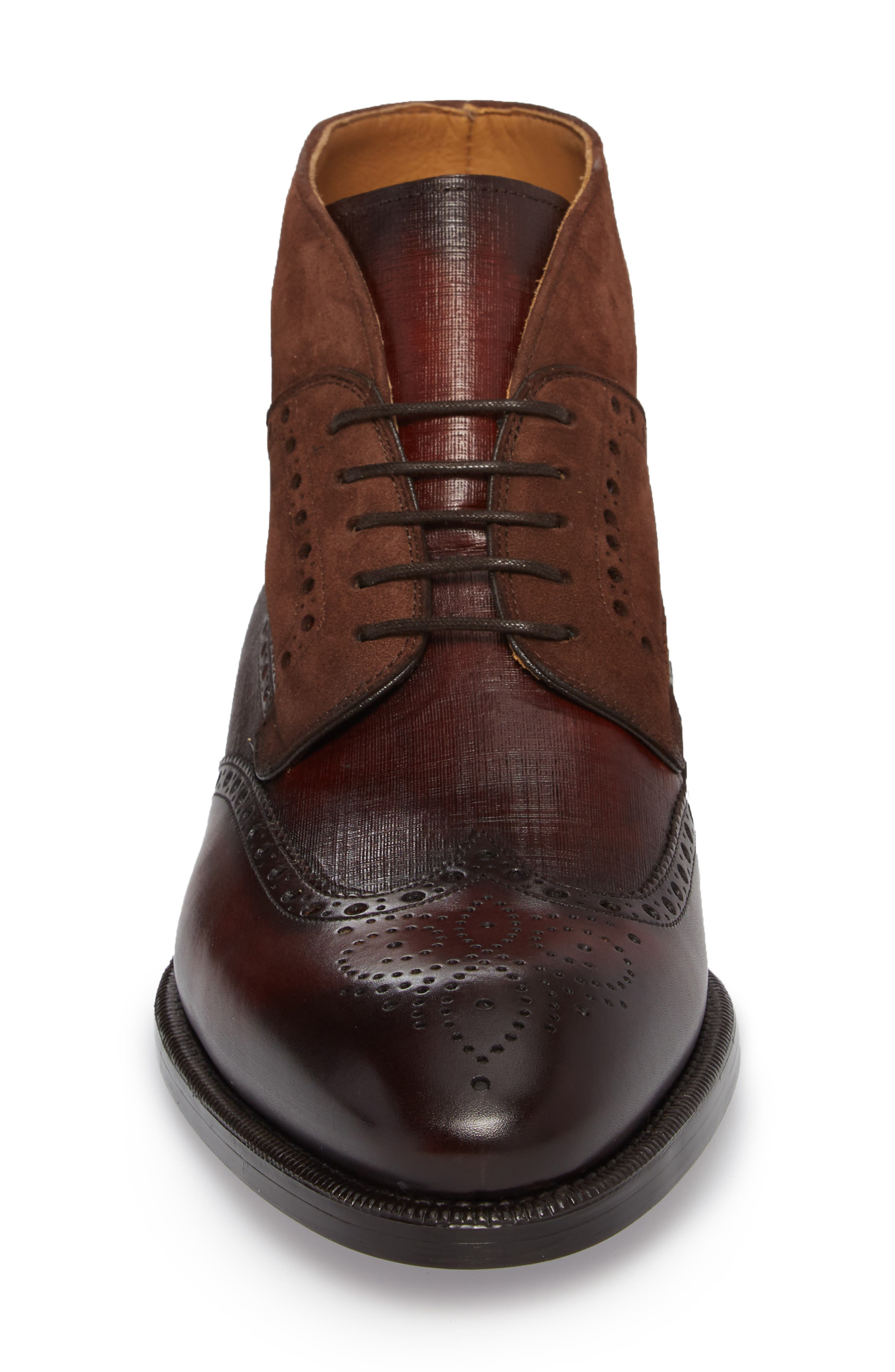 Saxon Wingtip Boot,                             Alternate thumbnail 4, color,                             Mid-Brown Leather