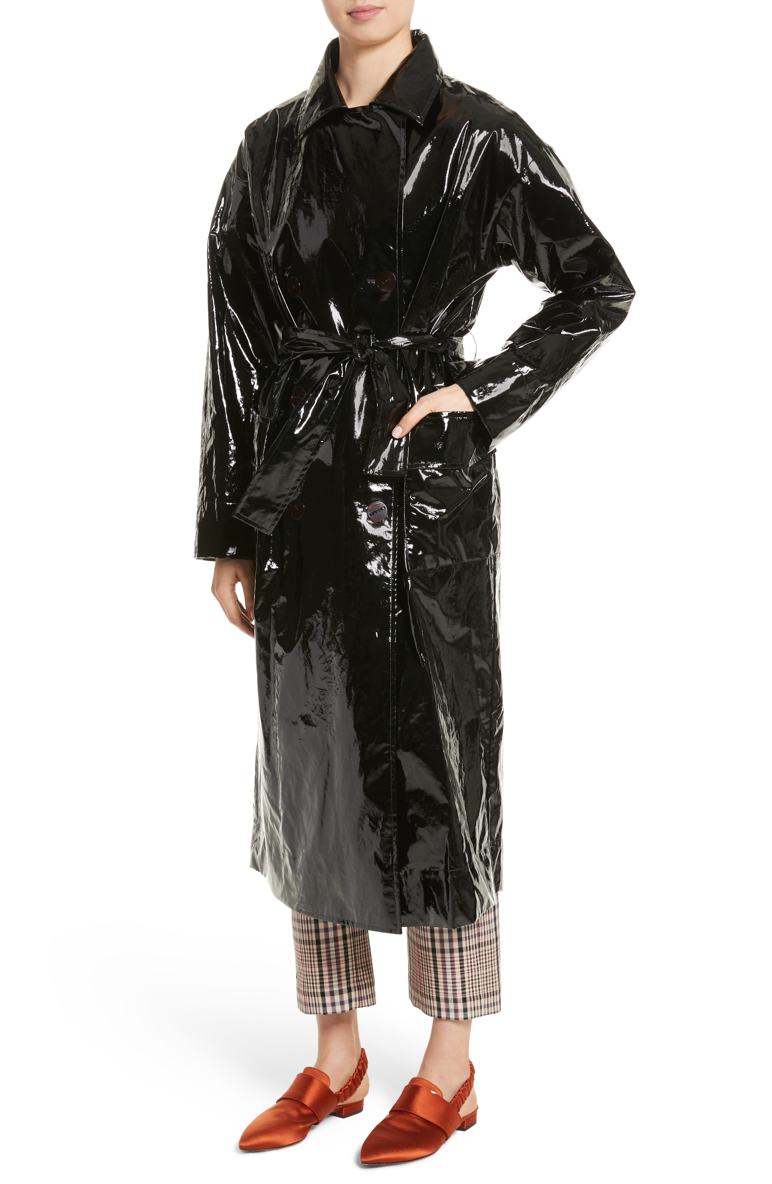 Classic Relaxed Trench Coat,                             Alternate thumbnail 4, color,                             Black