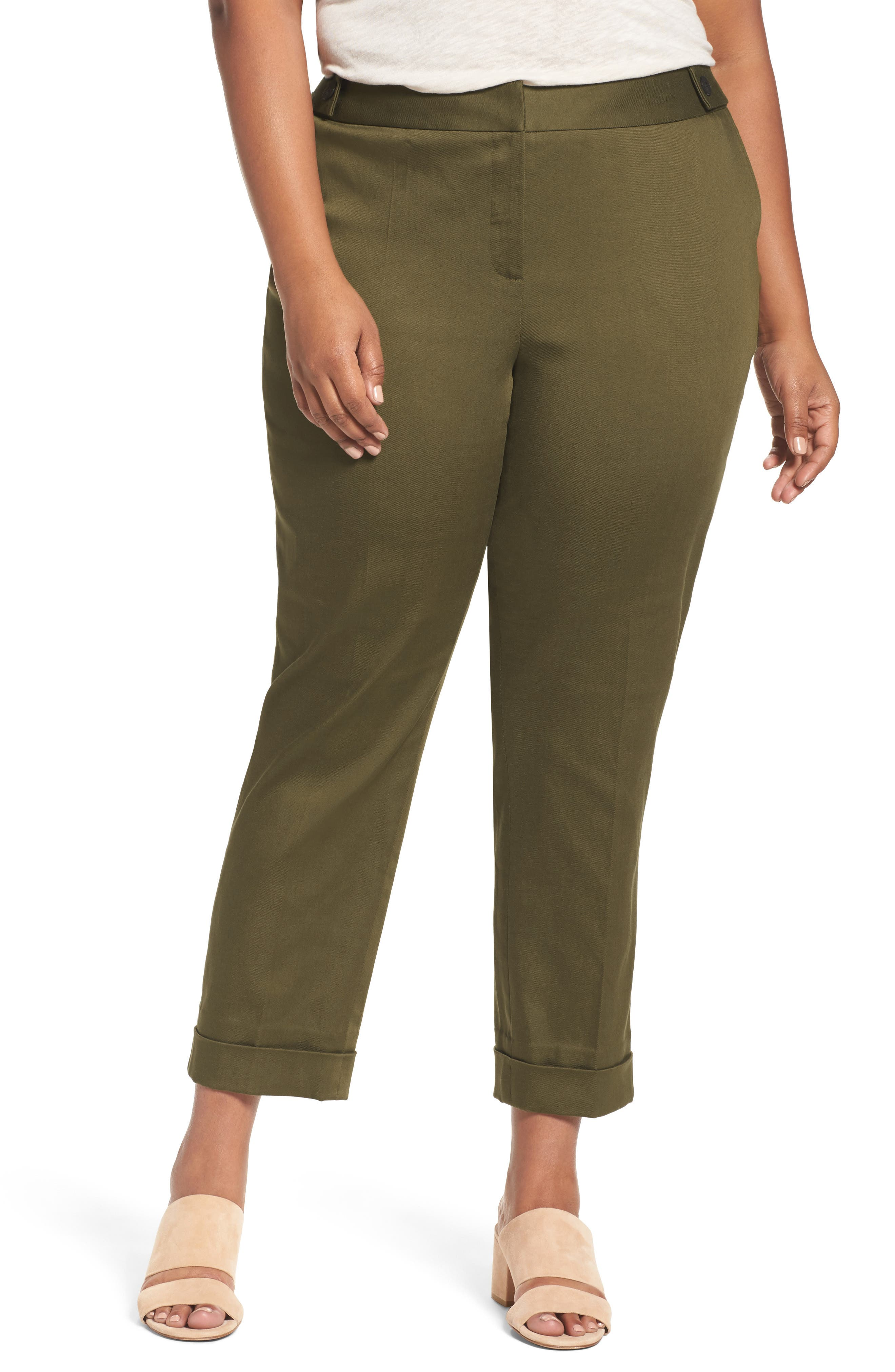 Stretch Twill Ankle Pants,                         Main,                         color, Olive Dark