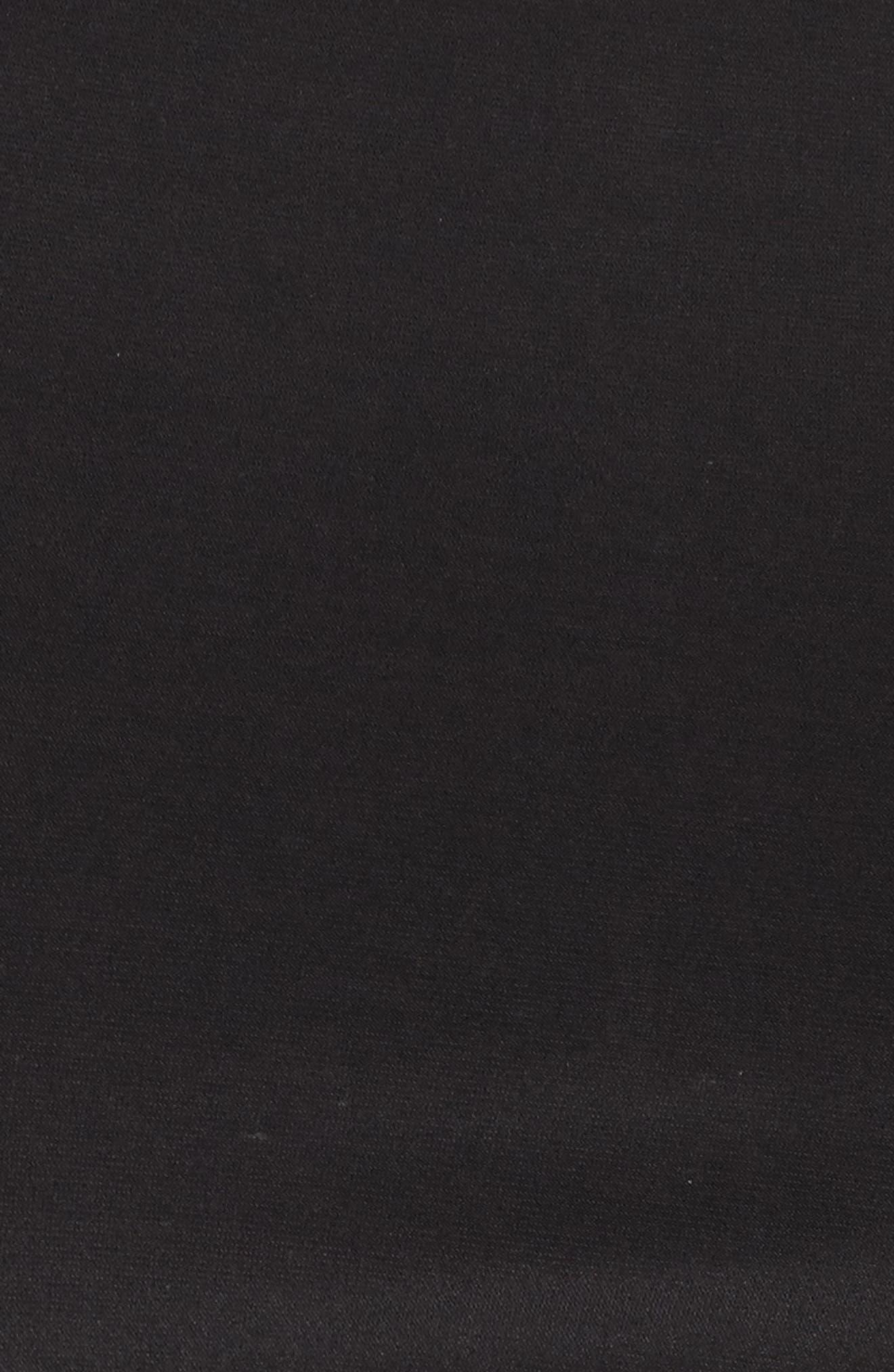 Illusion Yoke Bell Sleeve Sheath Dress,                             Alternate thumbnail 5, color,                             Black