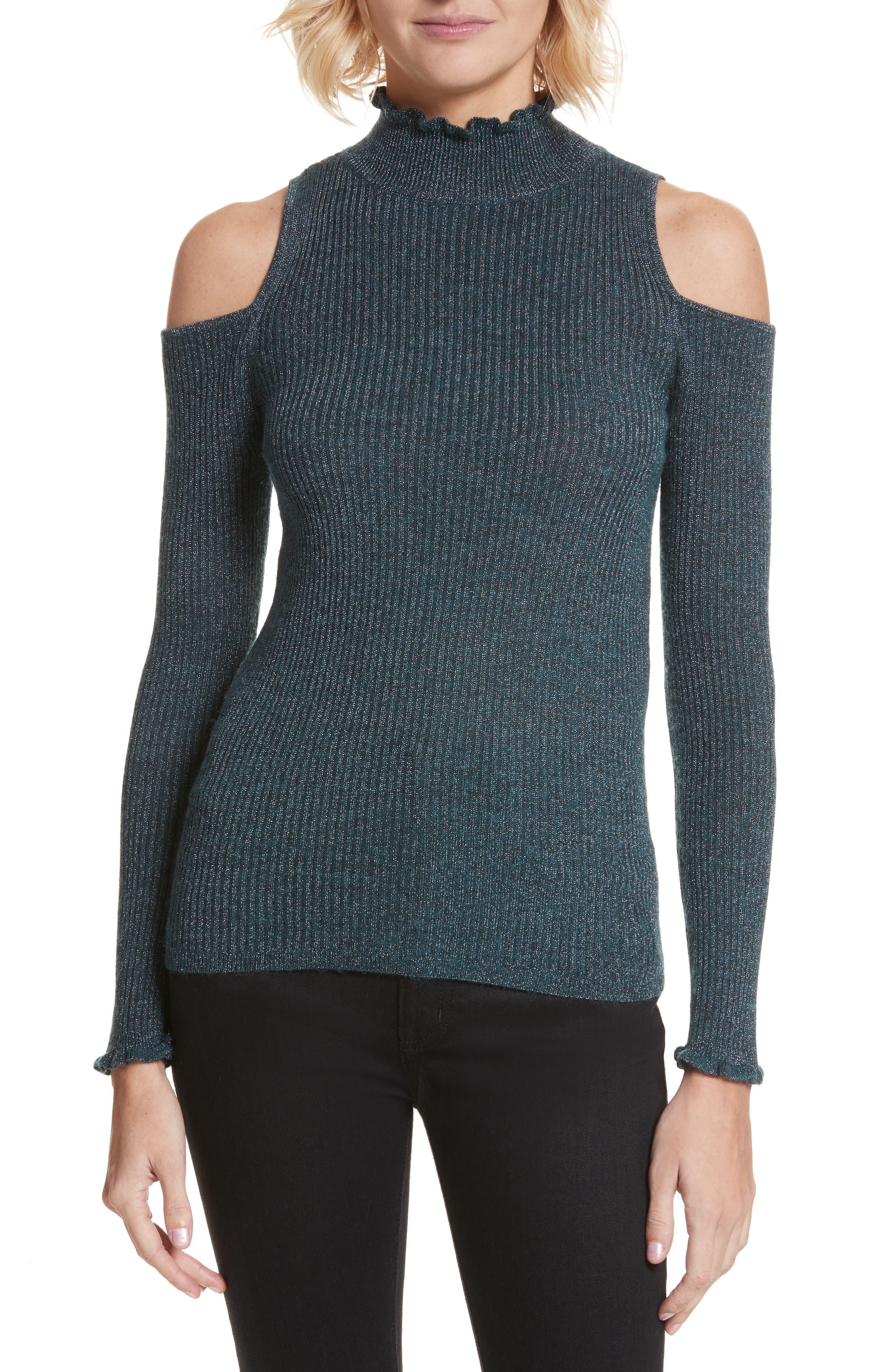 Main Image - Rebecca Taylor Metallic Cold Shoulder Pullover