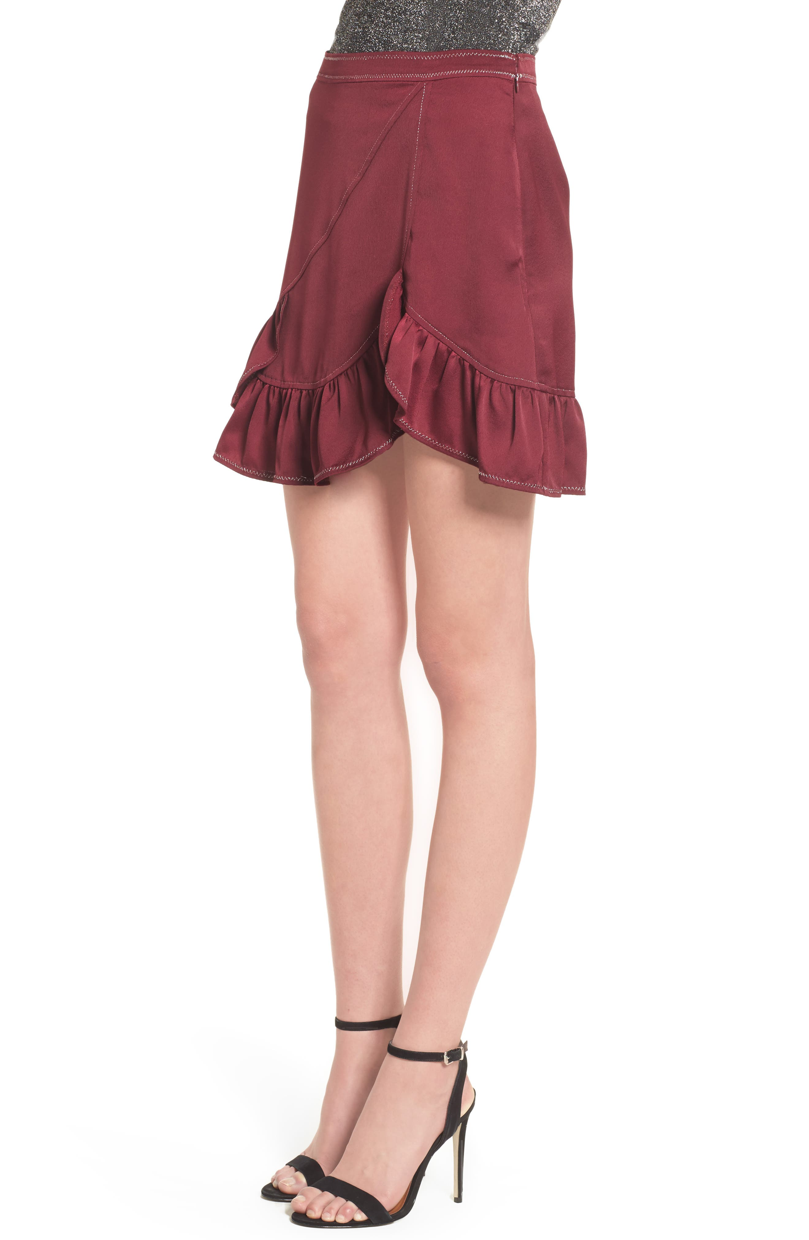 Brielle Ruffle Miniskirt,                             Alternate thumbnail 3, color,                             Frosted Grape