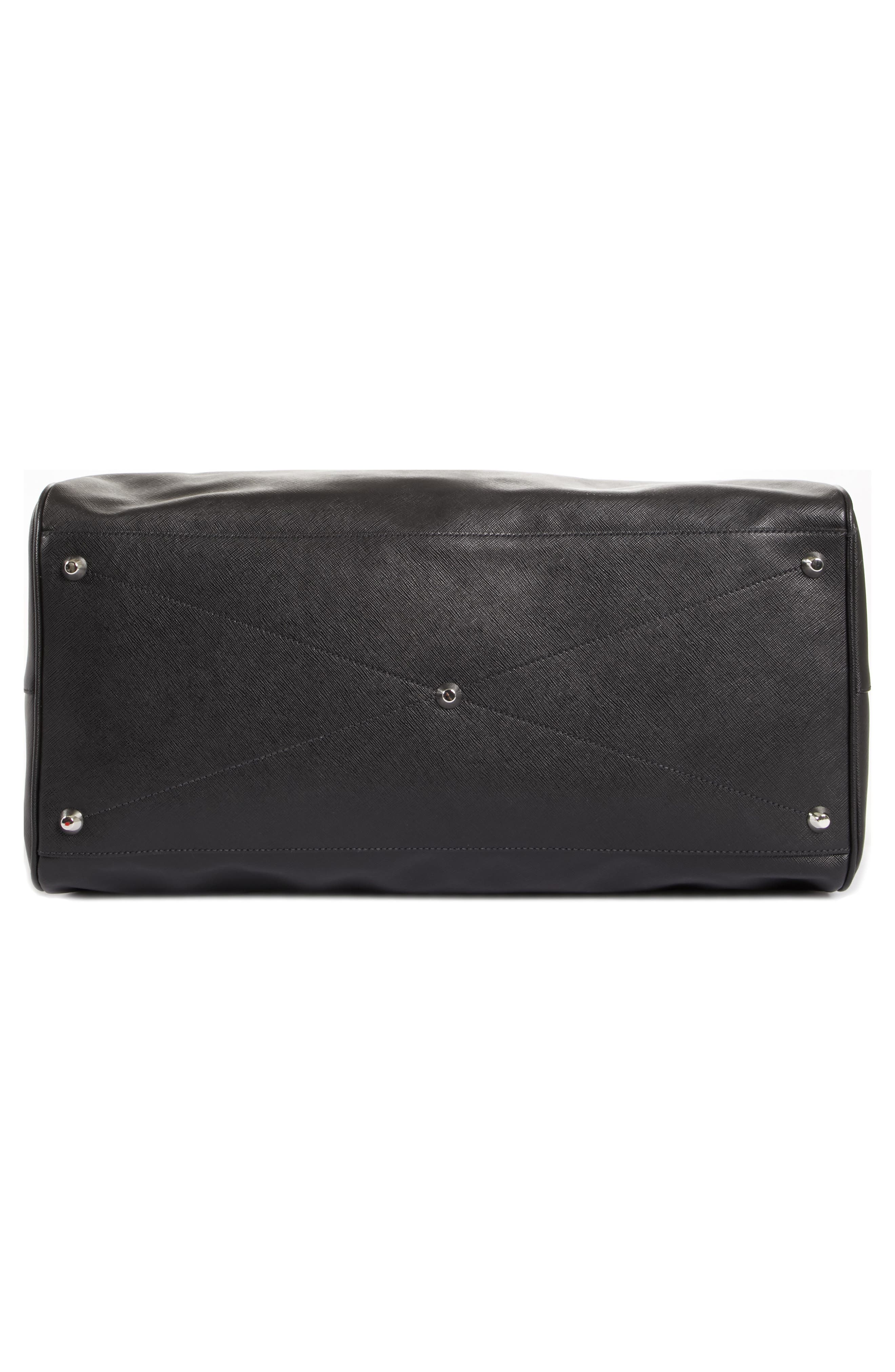 Saffiano Leather Duffel Bag,                             Alternate thumbnail 6, color,                             F0002 Nero