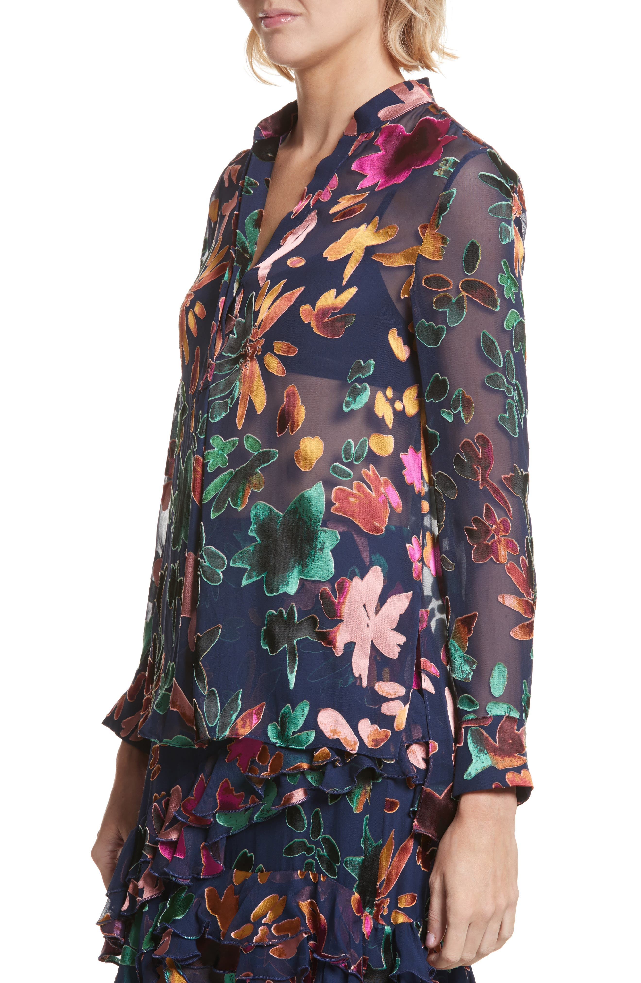 Alternate Image 4  - Alice + Olivia Amos Floral Burnout Velvet Tunic