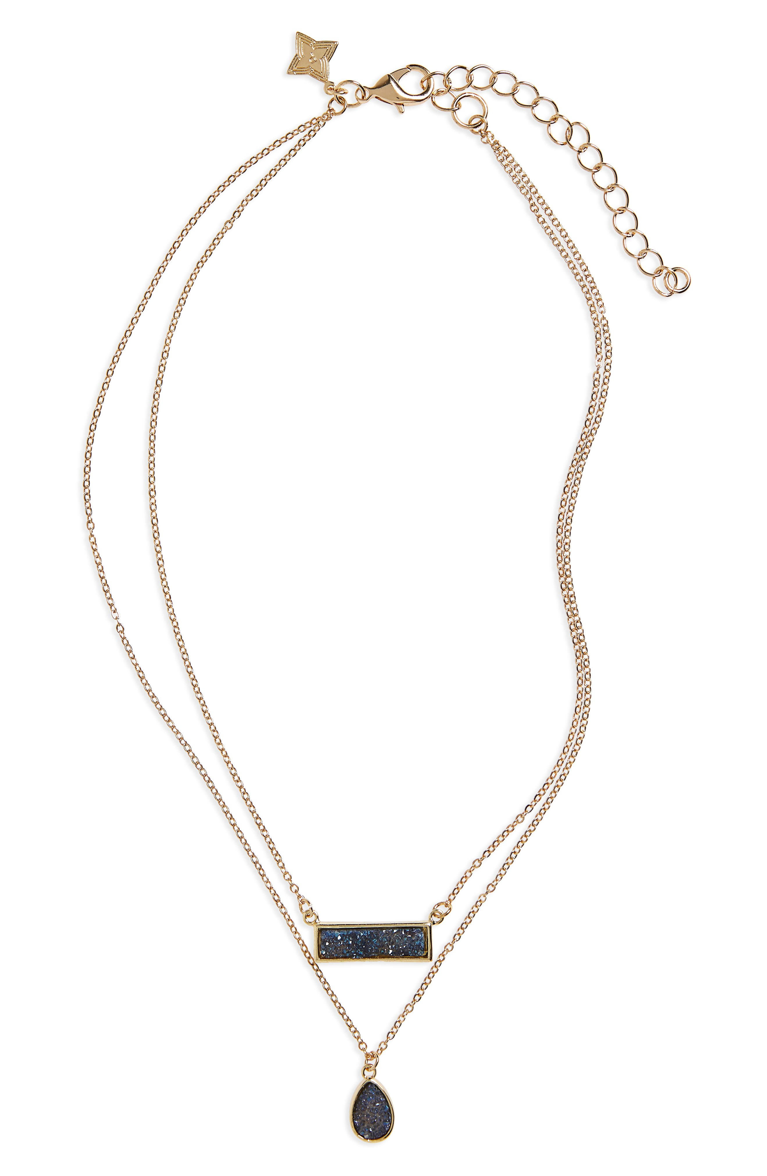 Drusy Multistrand Necklace,                         Main,                         color, Navy