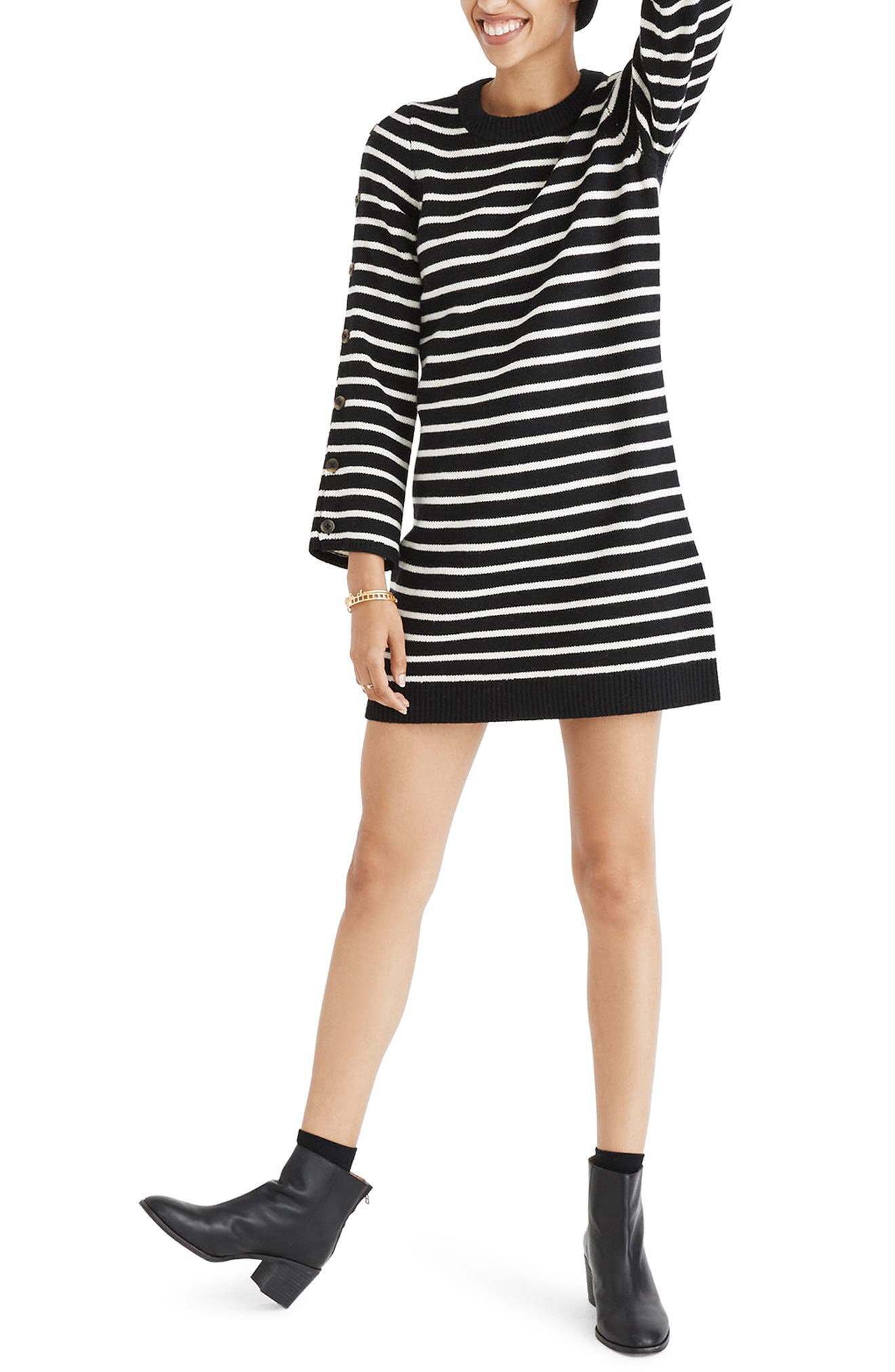Stripe Sweater Dress,                         Main,                         color, True Black