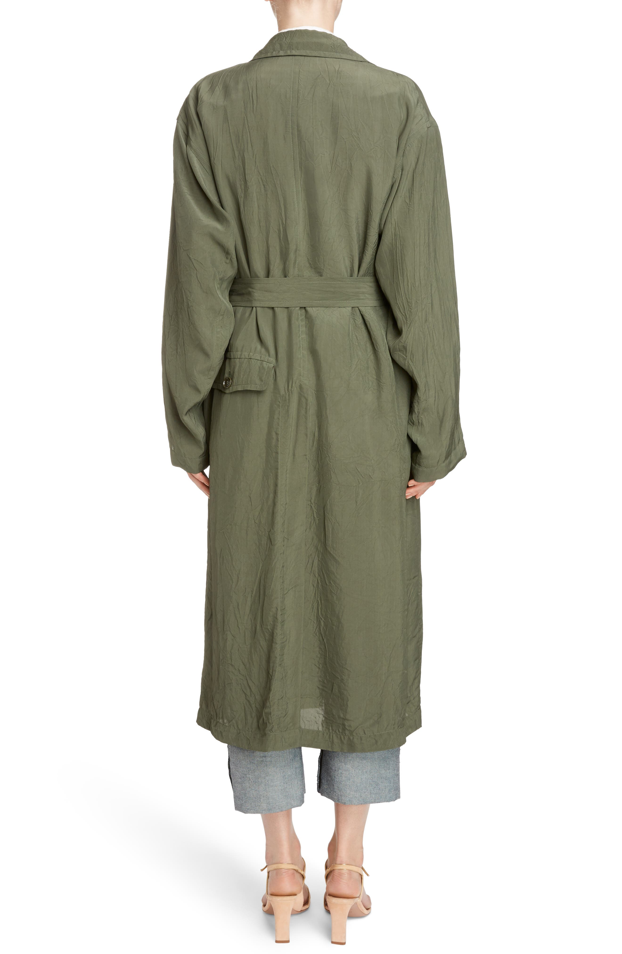 Crinkled Trench Coat,                             Alternate thumbnail 2, color,                             Green