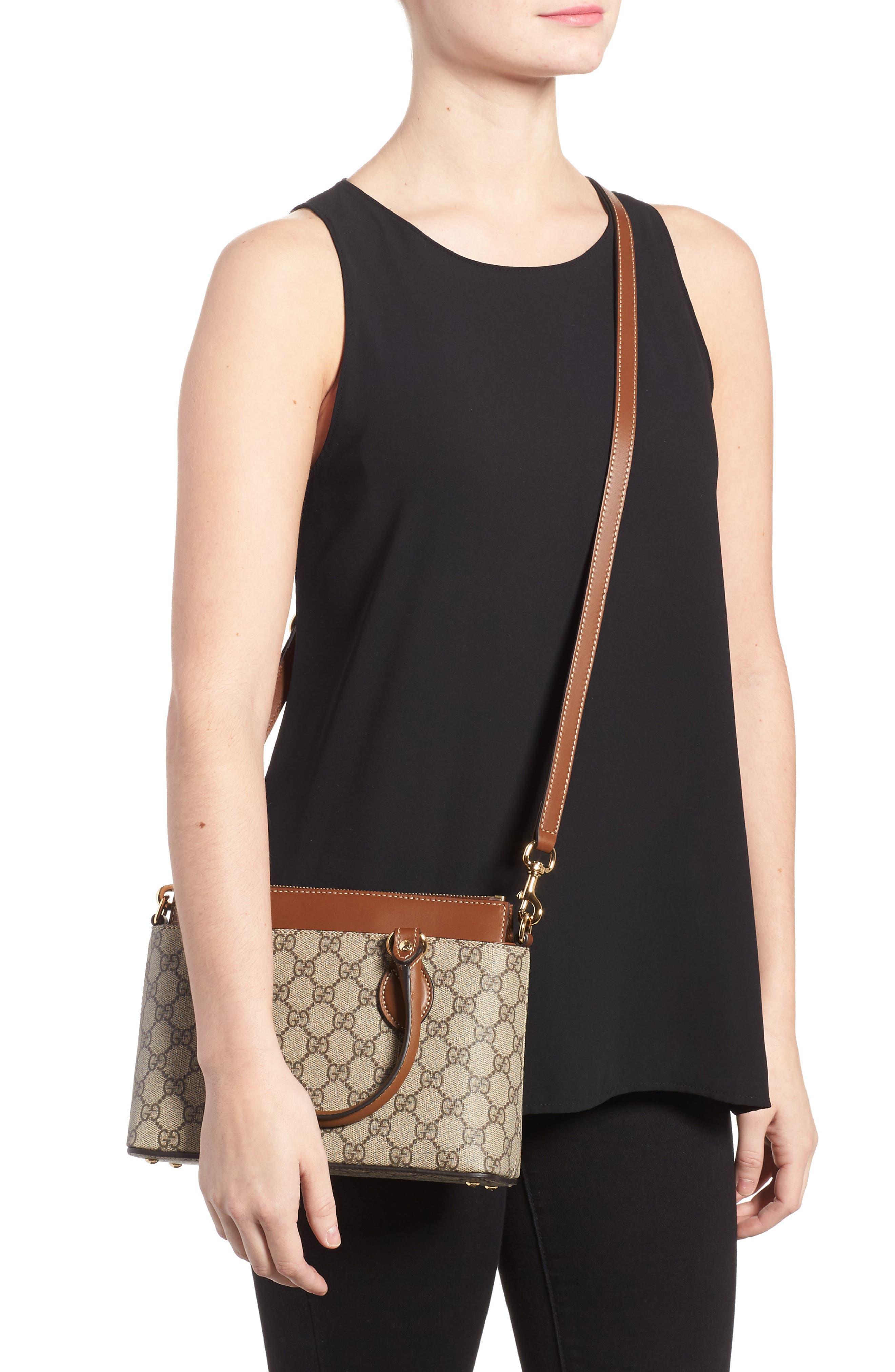 Alternate Image 2  - Gucci GG Mini Linea A Canvas & Leather Crossbody Tote